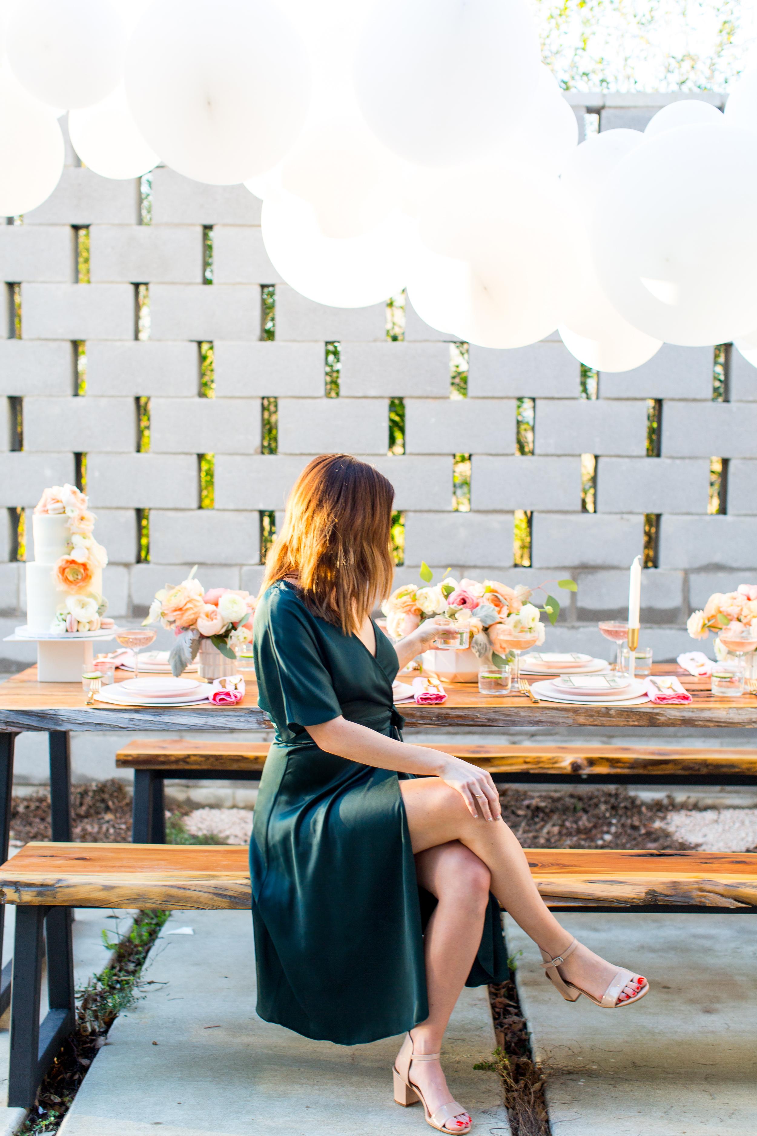 bridal shower bride at picnic table