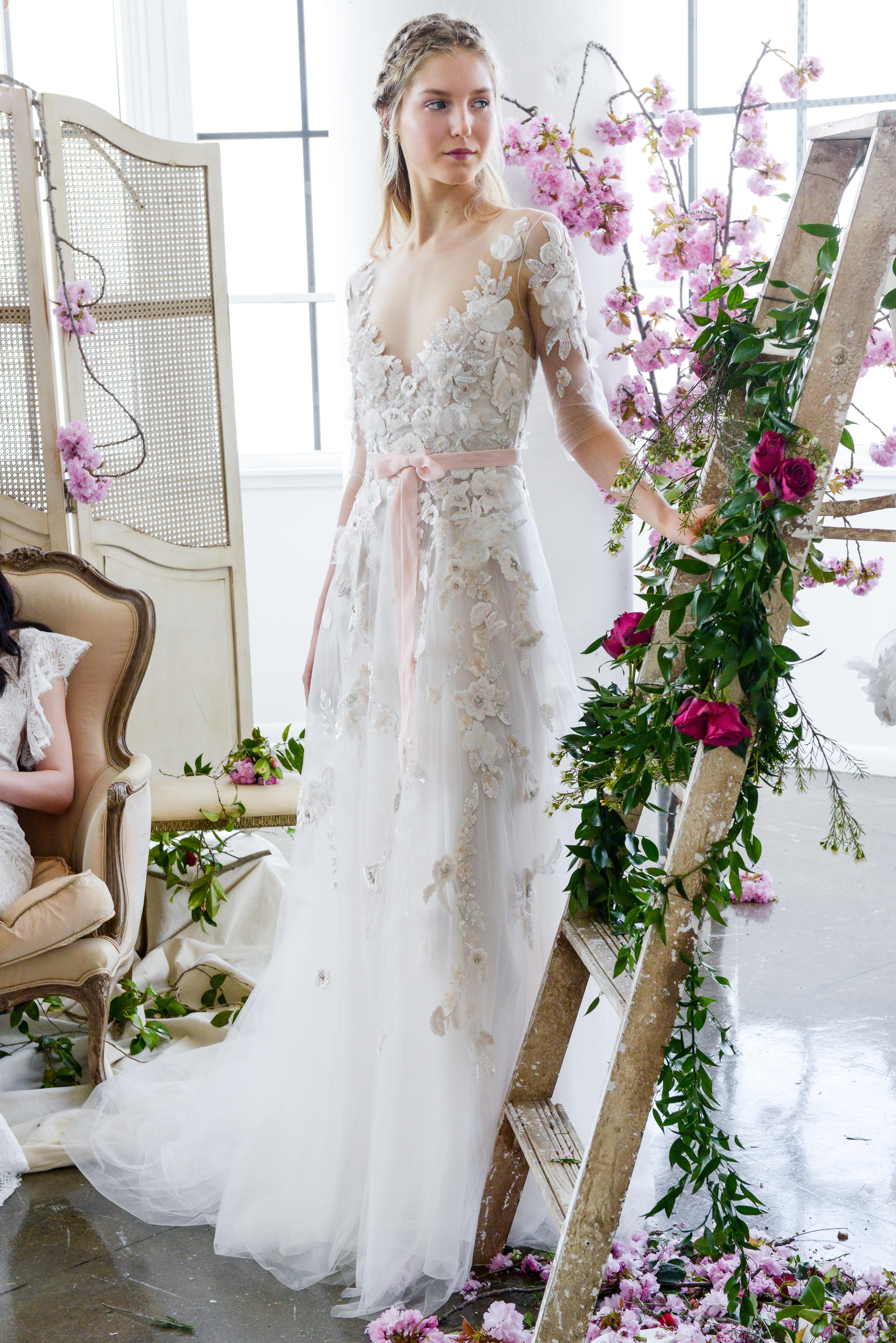 a-line lace marchesa wedding dress spring 2018