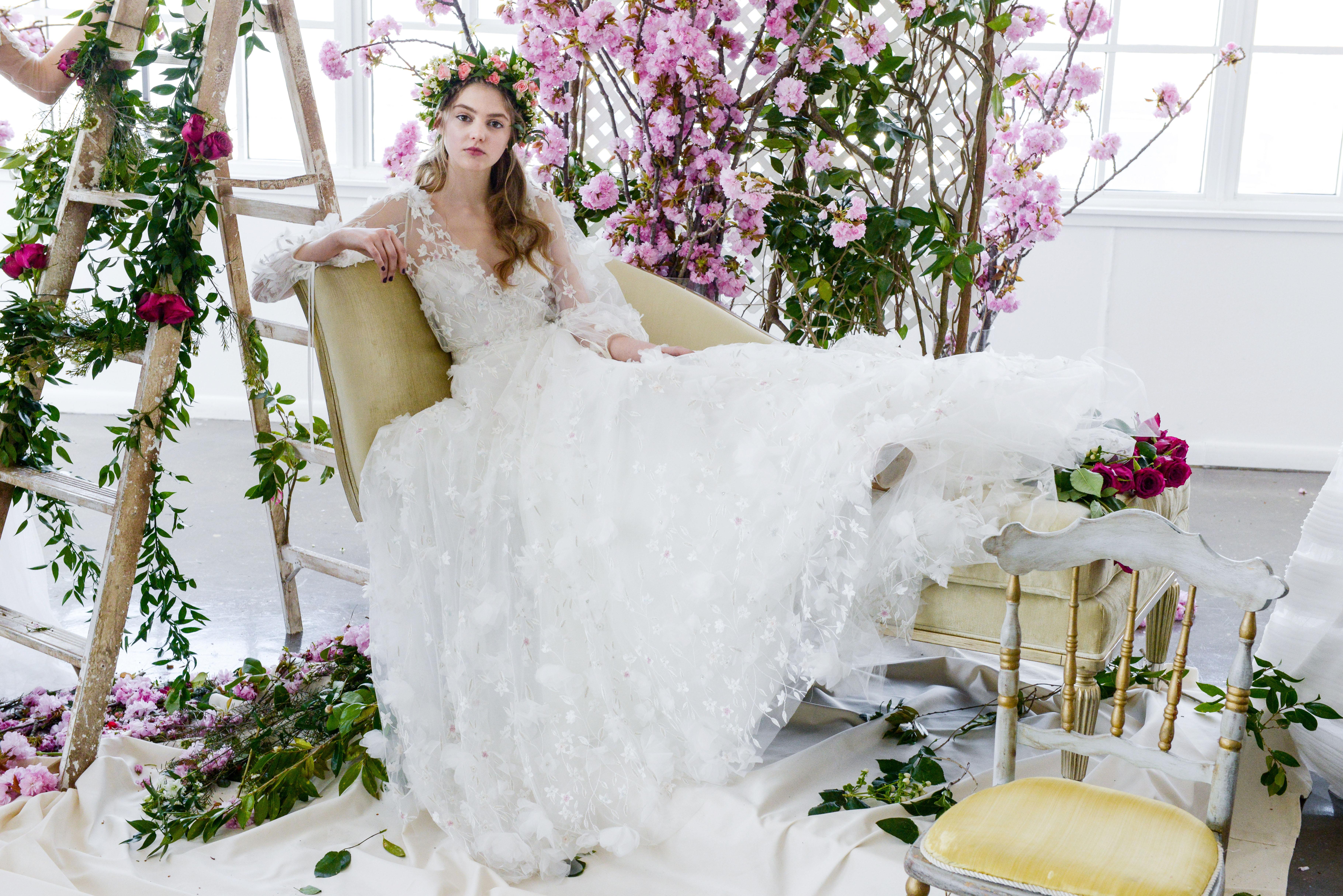 long sleeves tulle marchesa wedding dress spring 2018