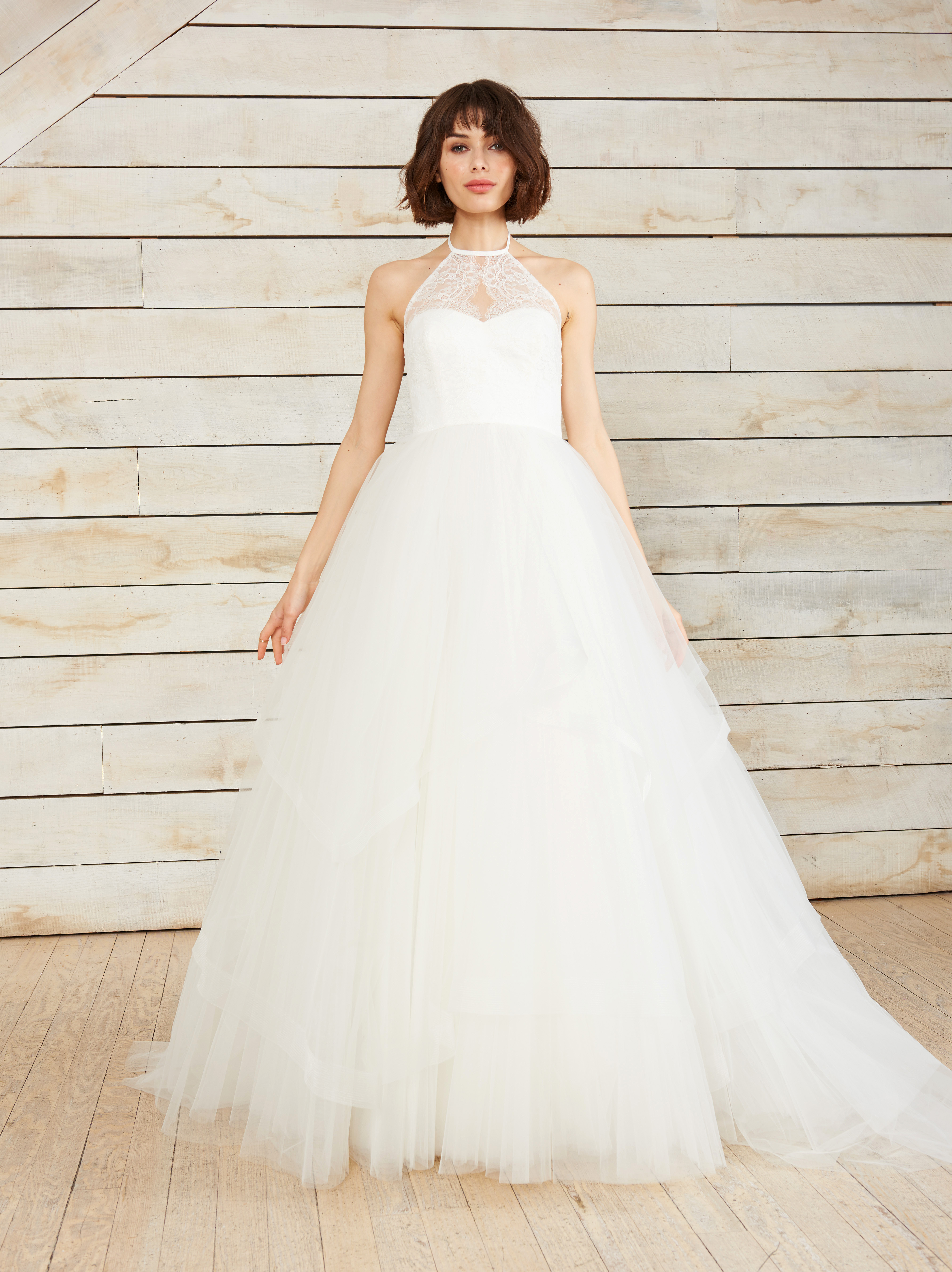 nouvelle amsale halter tulle ball gown wedding dress spring 2018