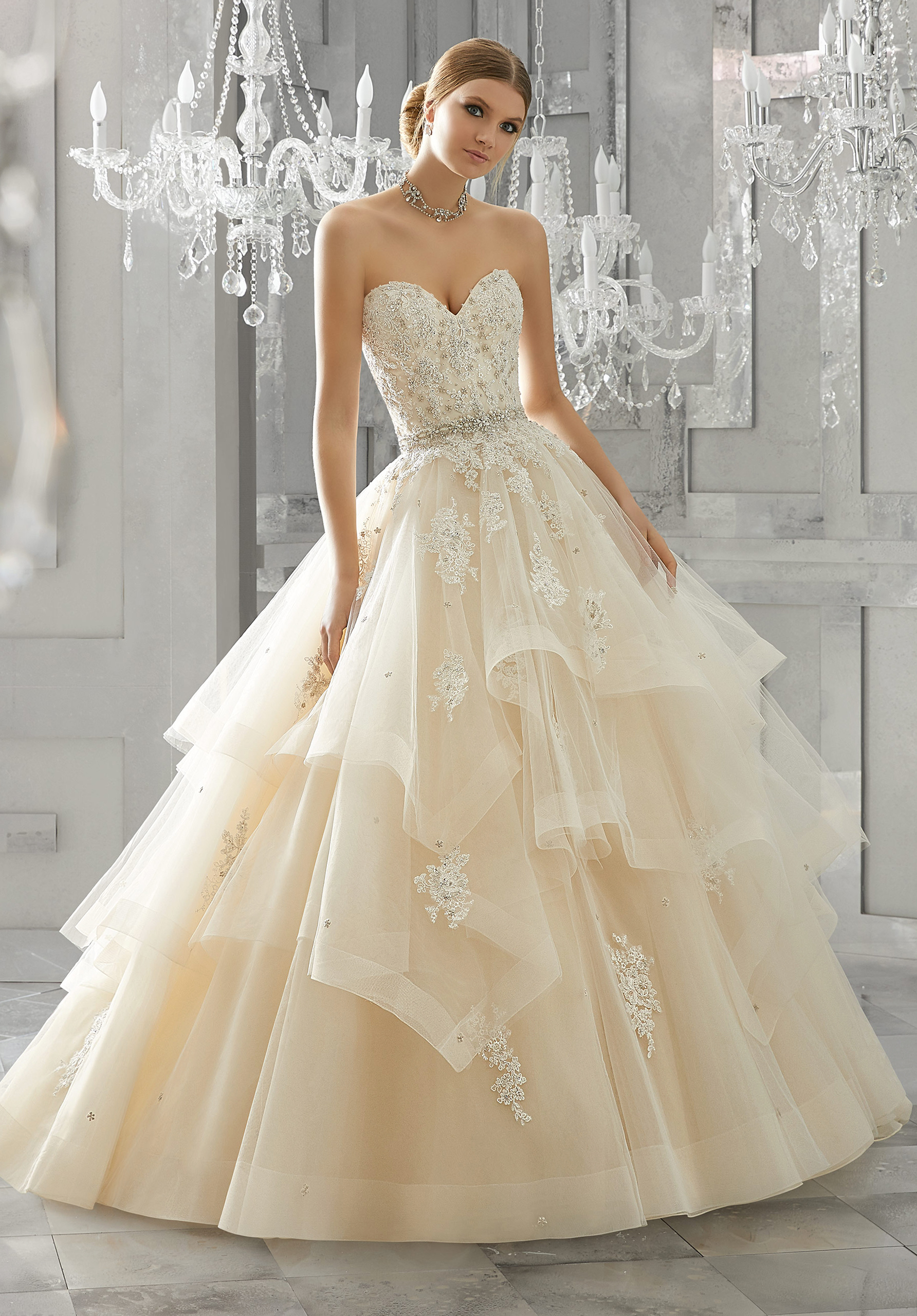 morilee wedding dress spring 2018 sweetheart tiered ballgown