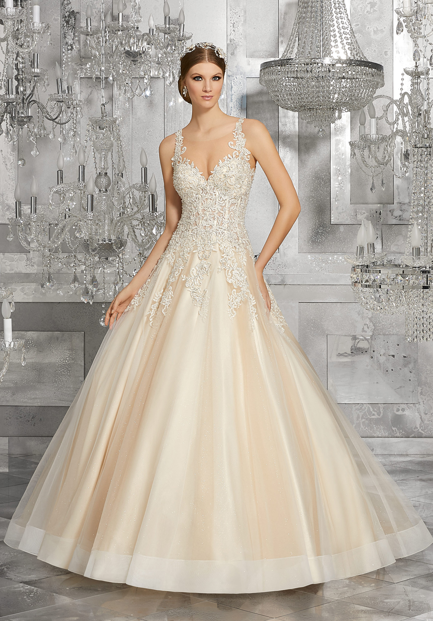 morilee wedding dress spring 2018 blush lace bodice a-line