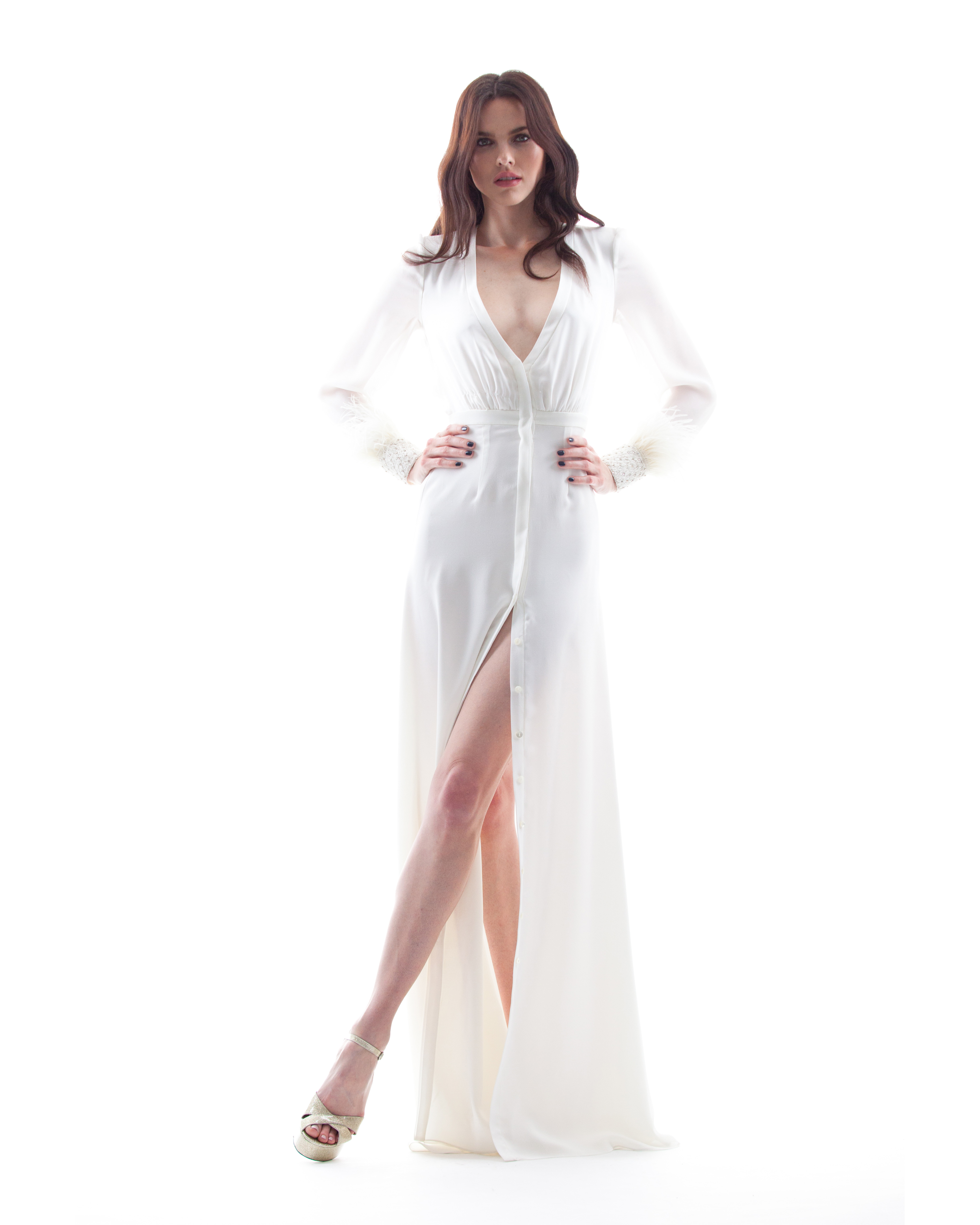 houghton wedding dress spring 2018 with long sleeves