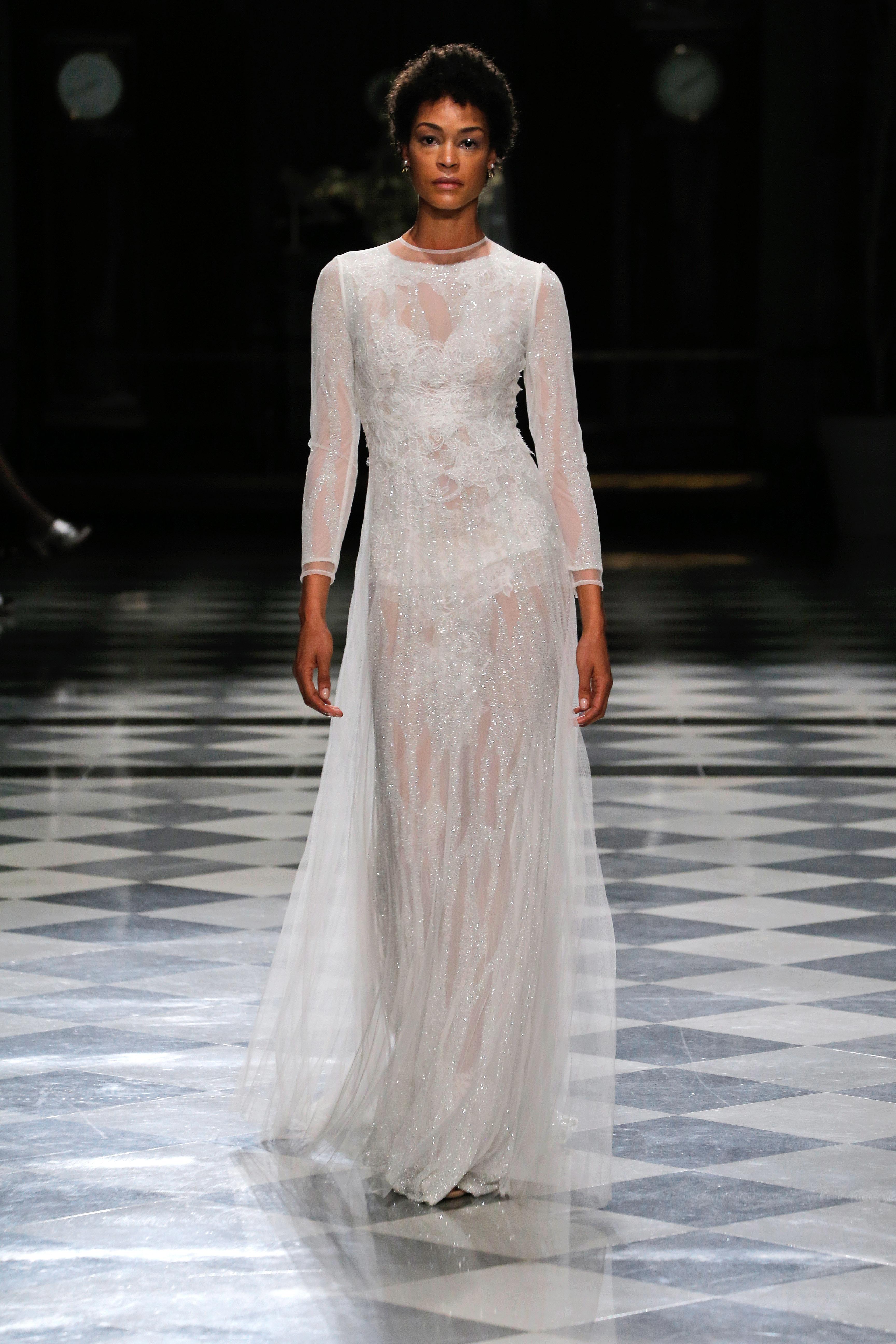 yolancris long sleeves high neck sparkly wedding dress spring 2018