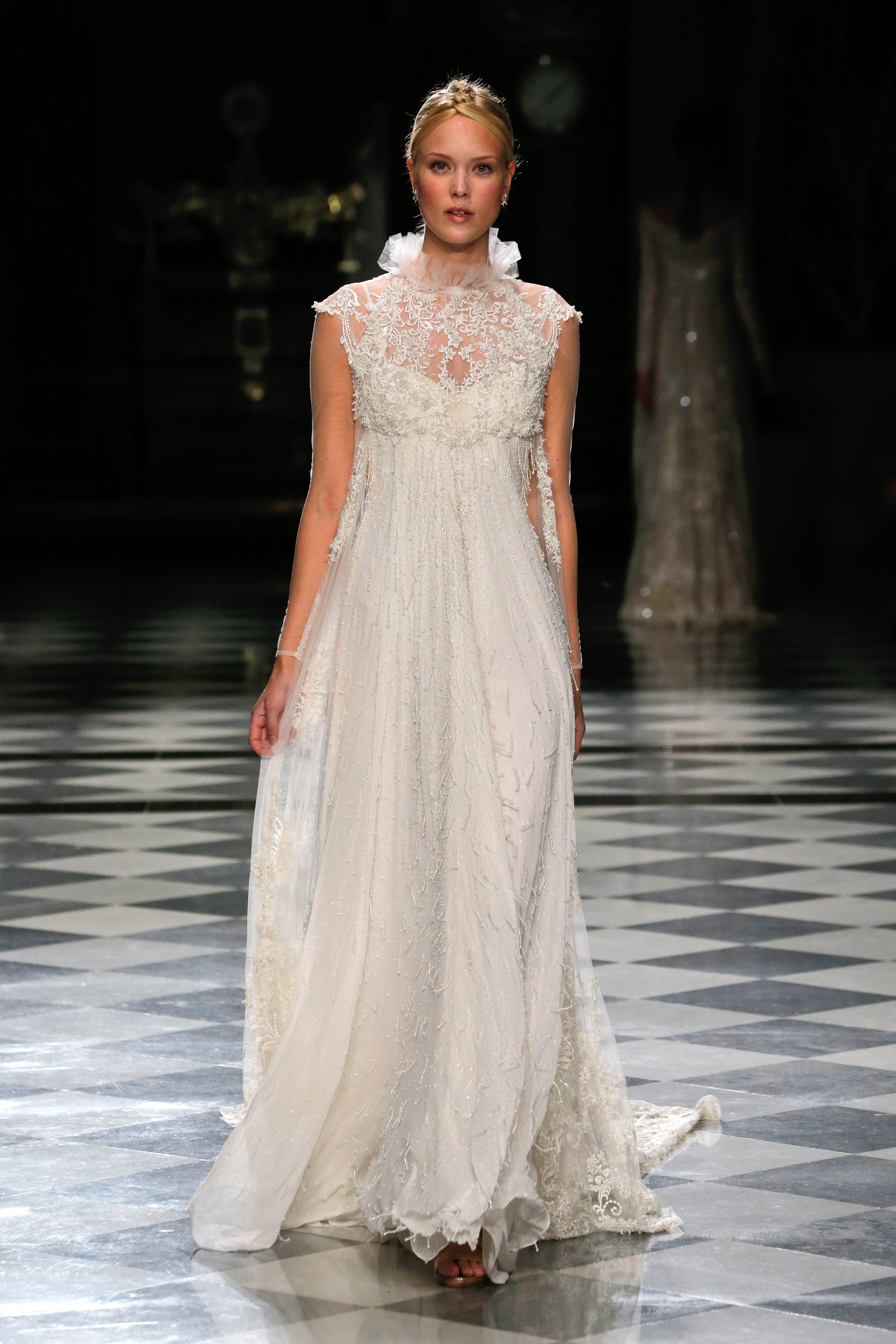 yolancris high neck empire flowy wedding dress spring 2018