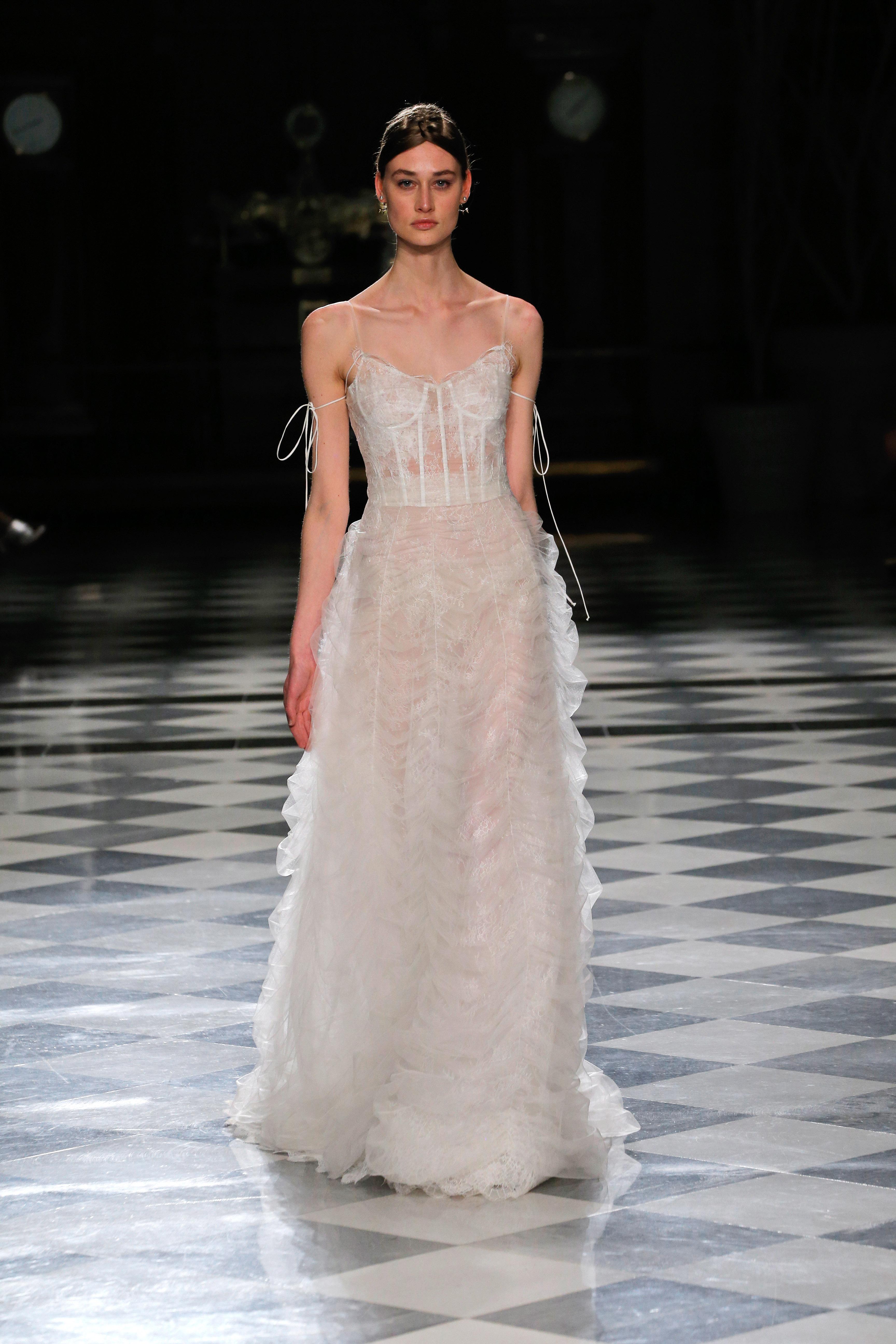 yolancris spaghetti strap ruffles wedding dress spring 2018