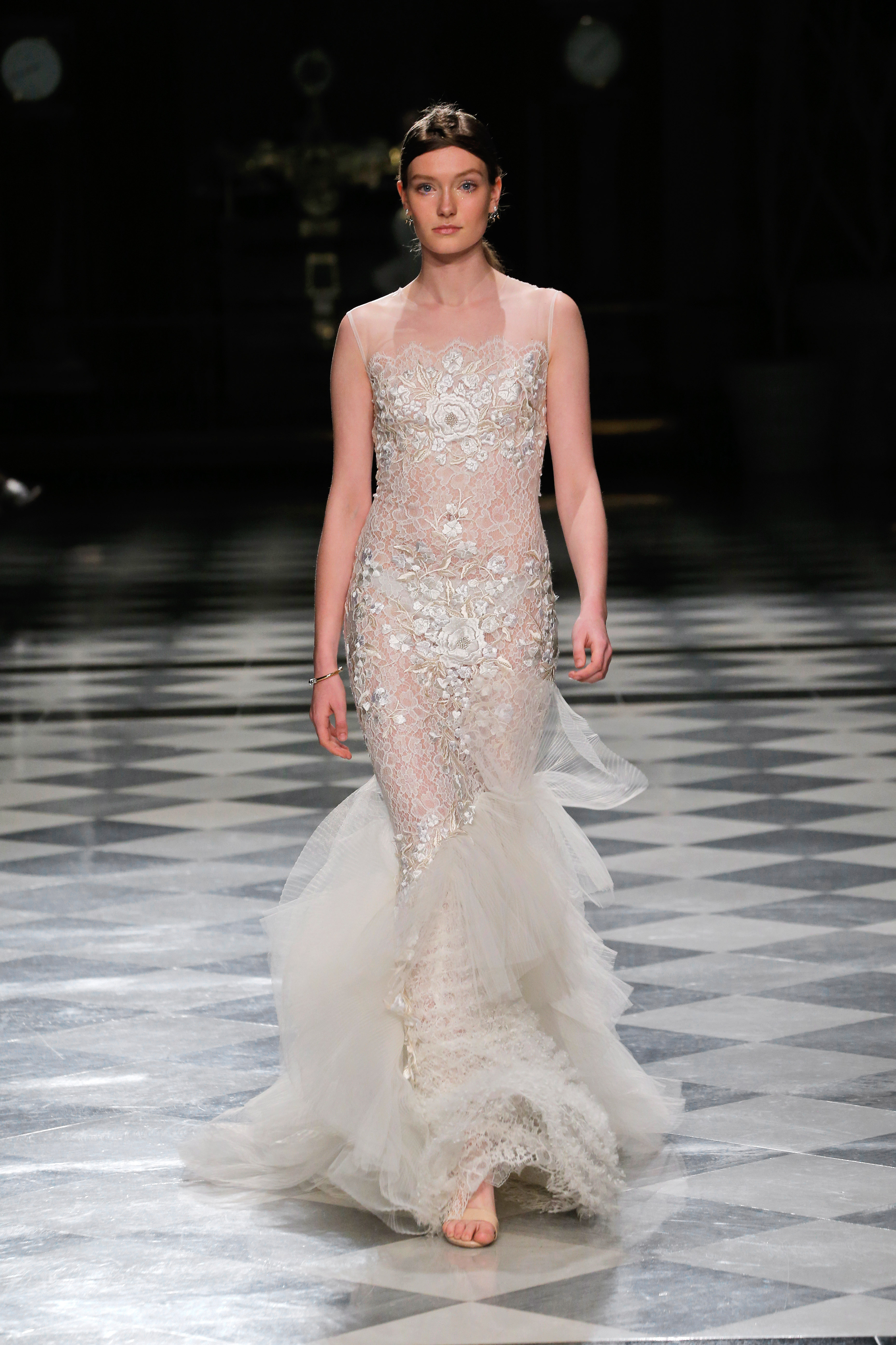 yolancris illusion mermaid tulle wedding dress spring 2018