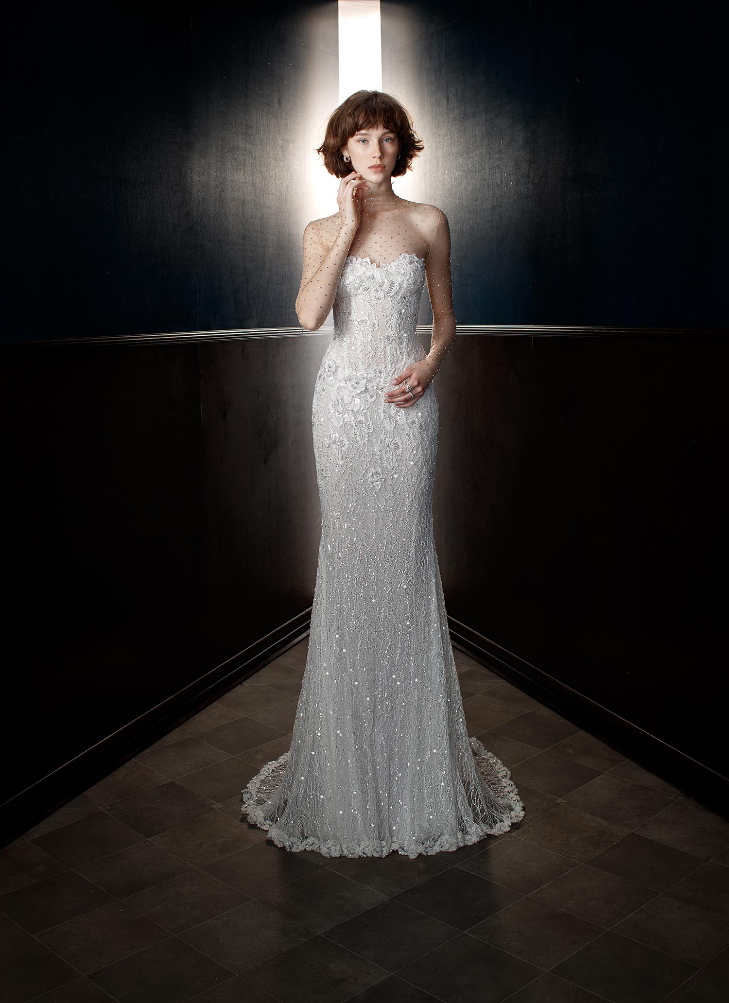 galia lahav wedding dress spring 2018 illusion neck sheath