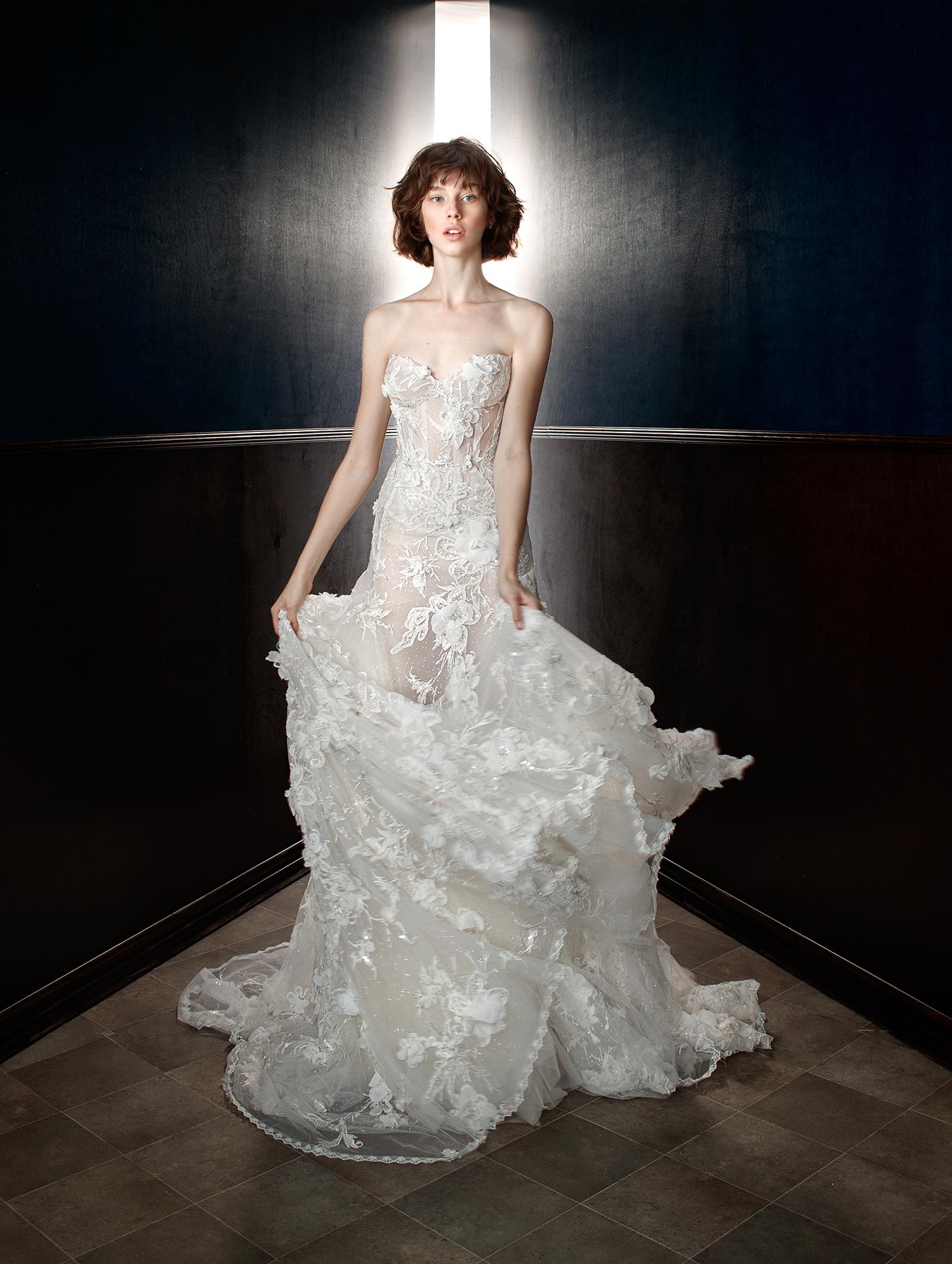 galia lahav wedding dress spring 2018 sweetheart floral sheer