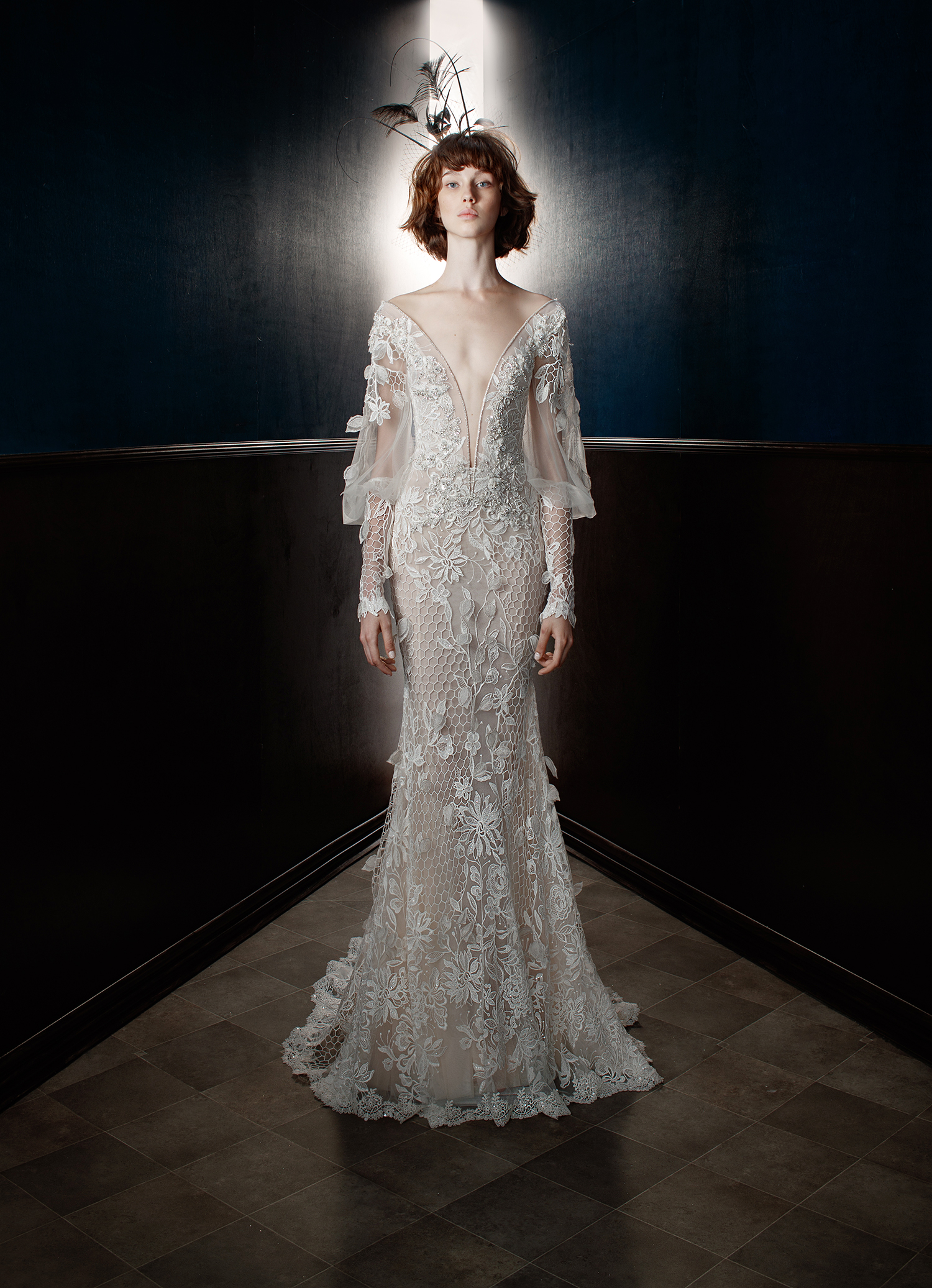 galia lahav wedding dress spring 2018 plunging v-neck long sleeves