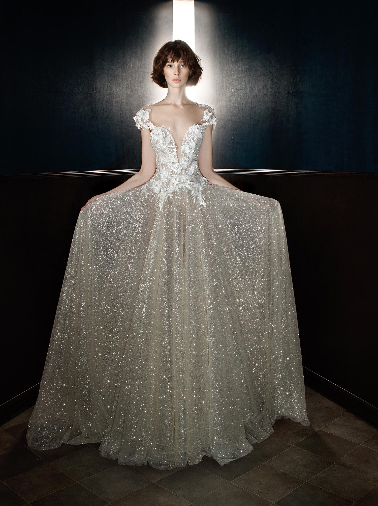 galia lahav wedding dress spring 2018 cap sleeve v-neck shimmer