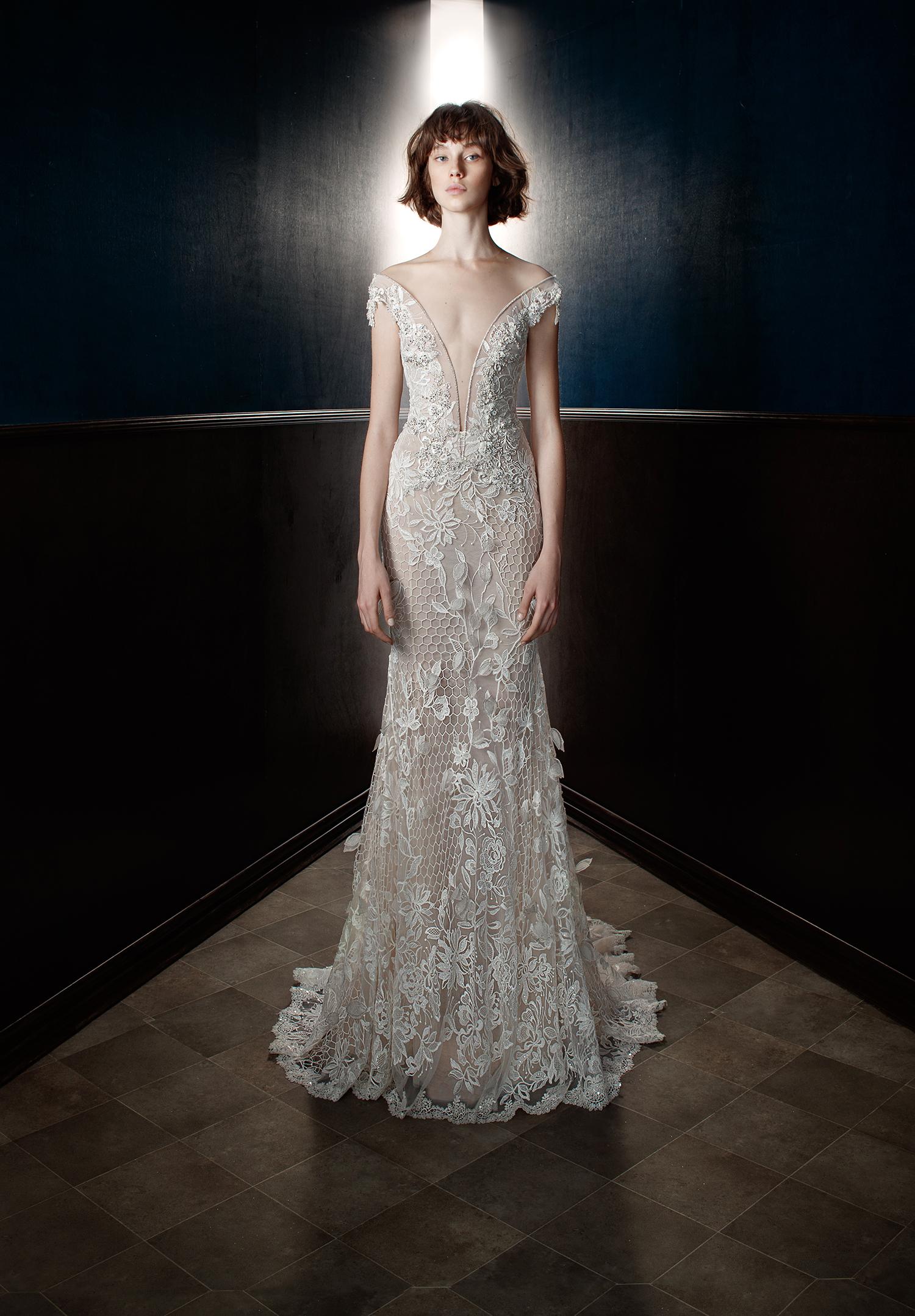 galia lahav wedding dress spring 2018 off-the-shoulder lace v-neck