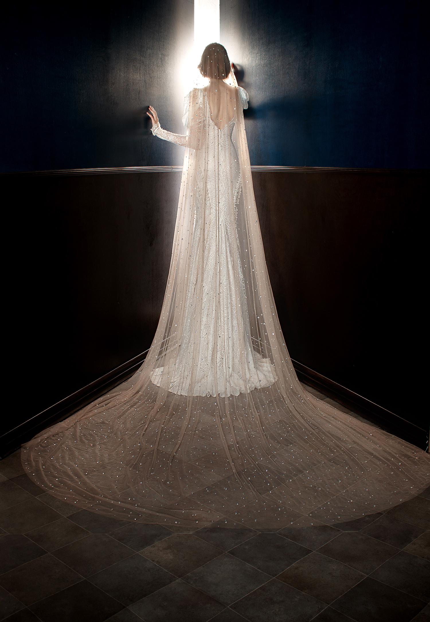 galia lahav wedding dress spring 2018 long sleeves veil shimmer
