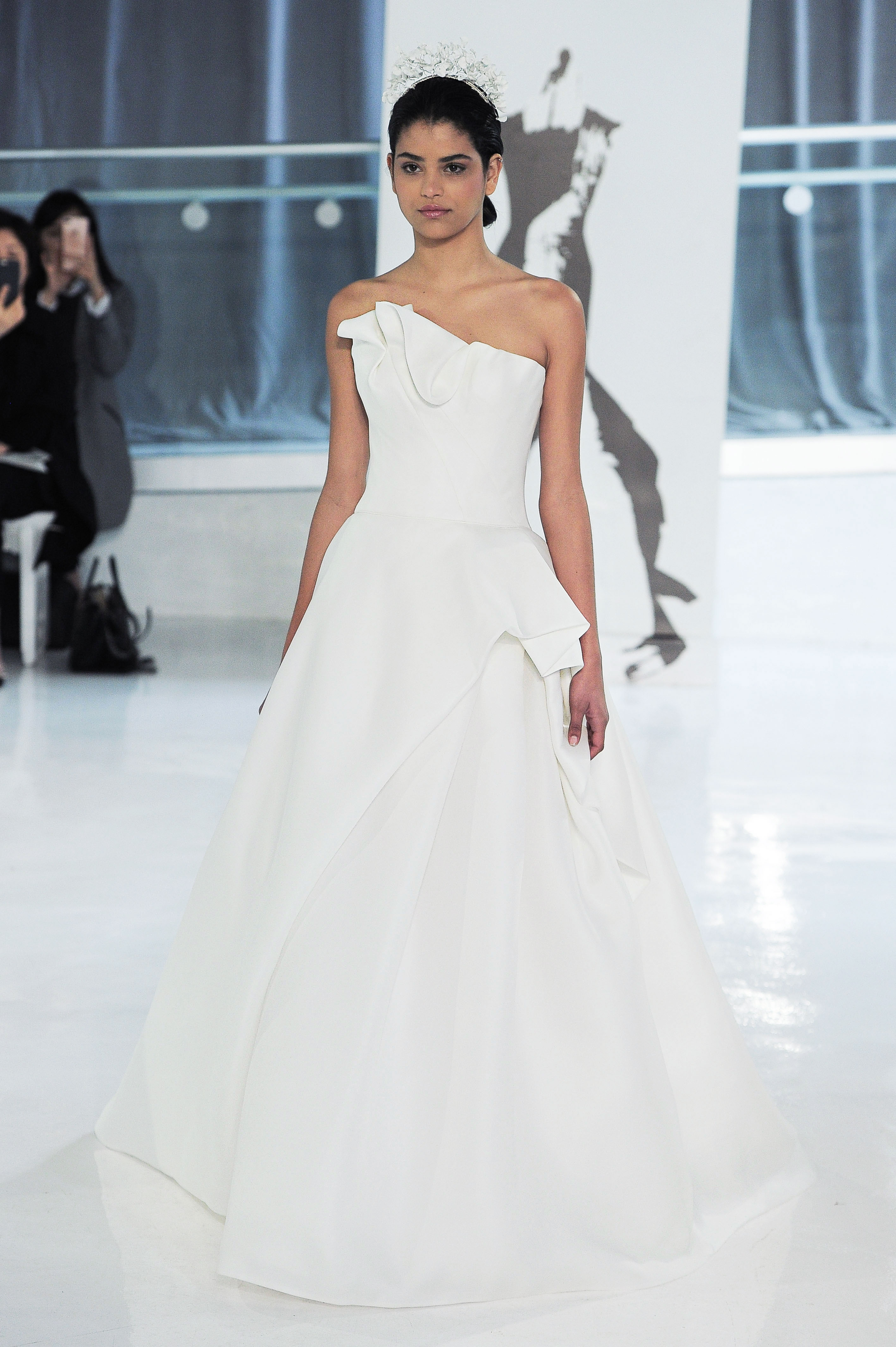 one shoulder peter langner wedding dress spring 2018