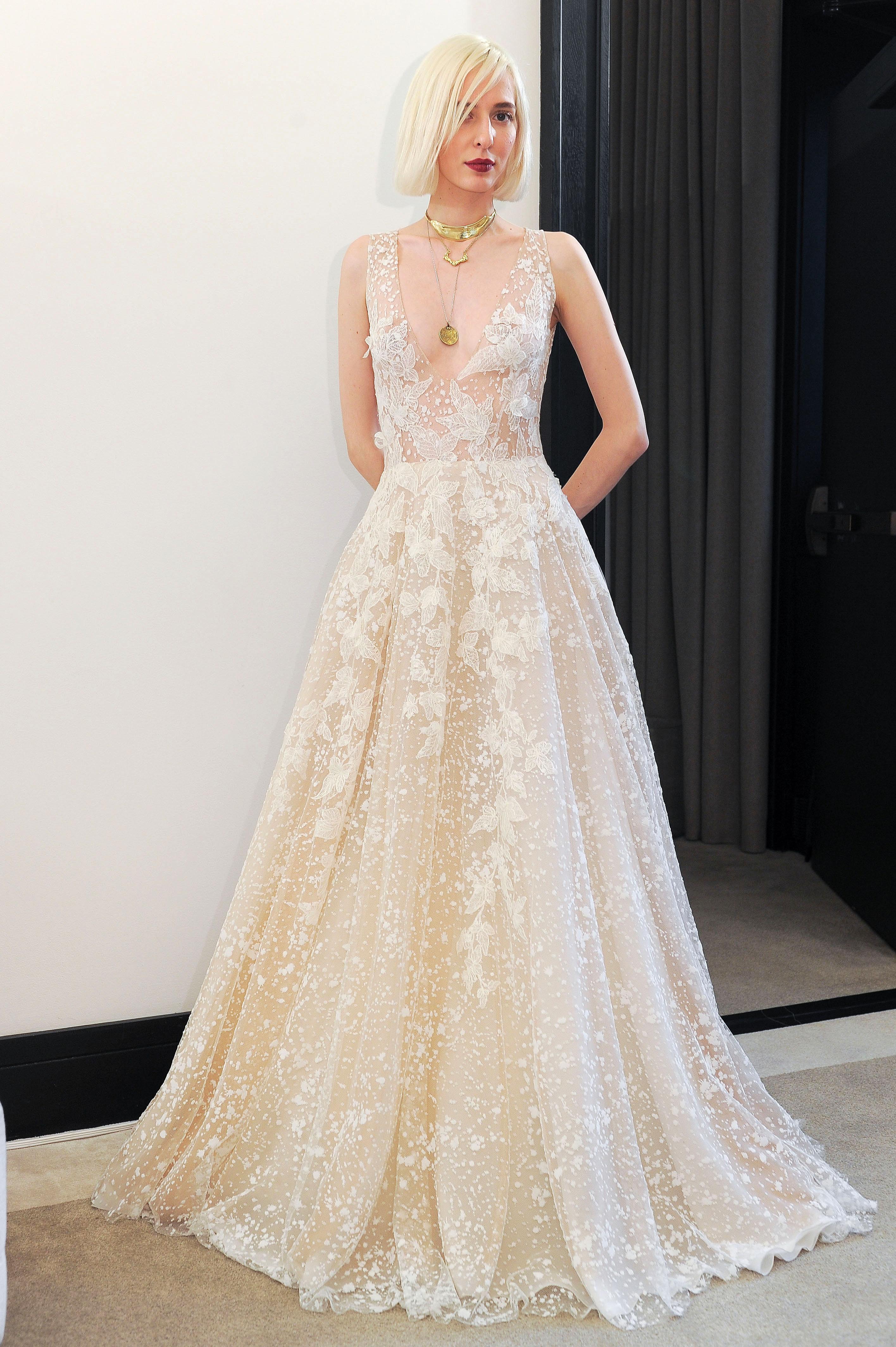 costarellos v-neck a-line off white wedding dress spring 2018