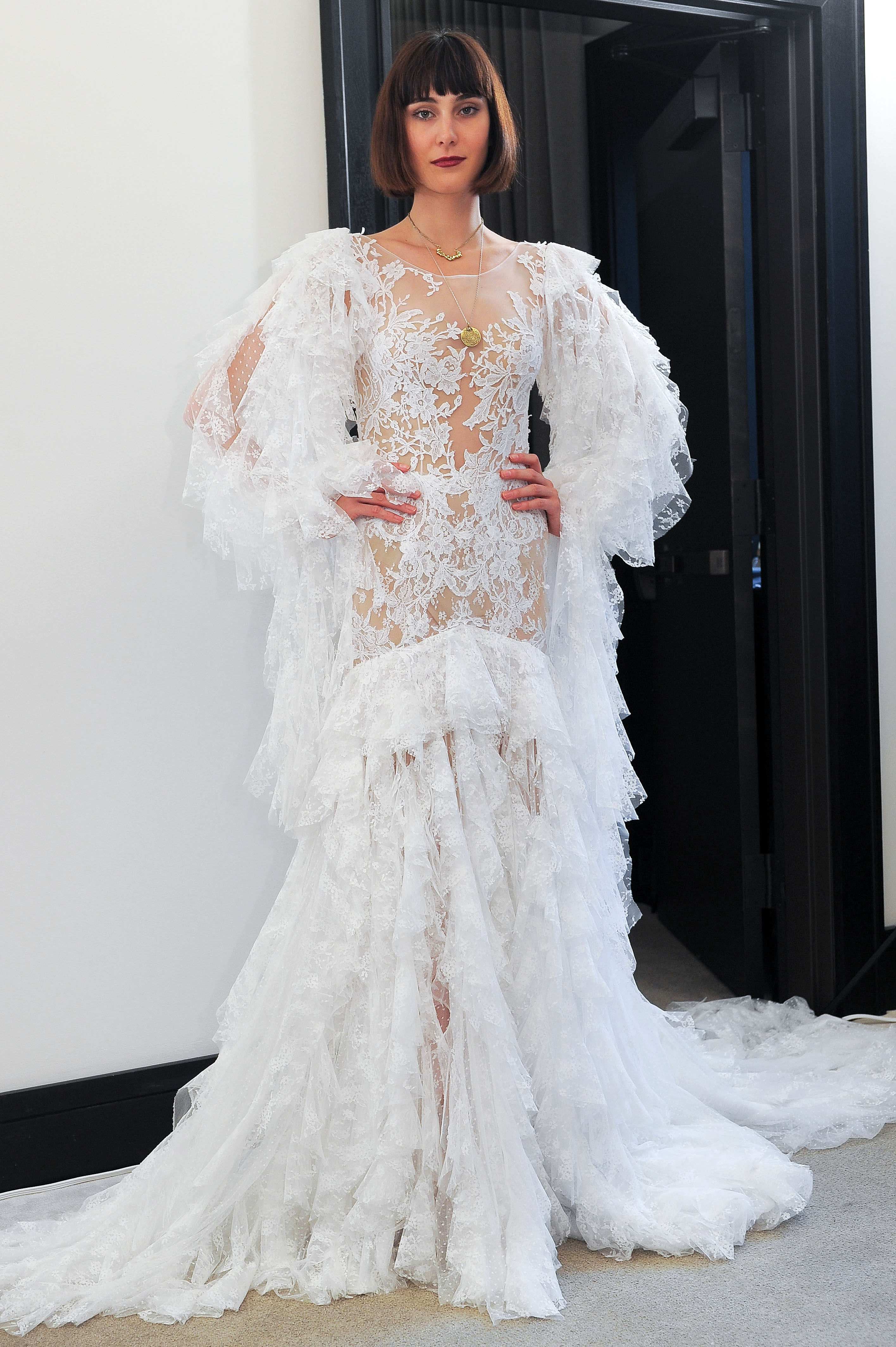 costarellos lace long sleeves ruffled wedding dress spring 2018