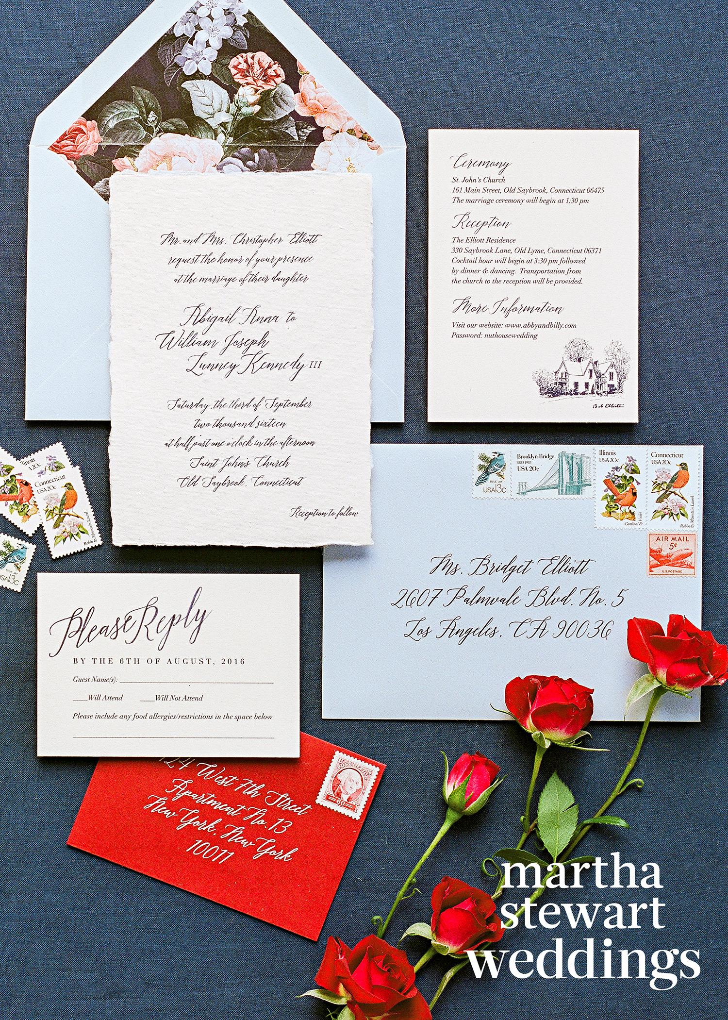 abby elliott bill kennedy wedding stationery
