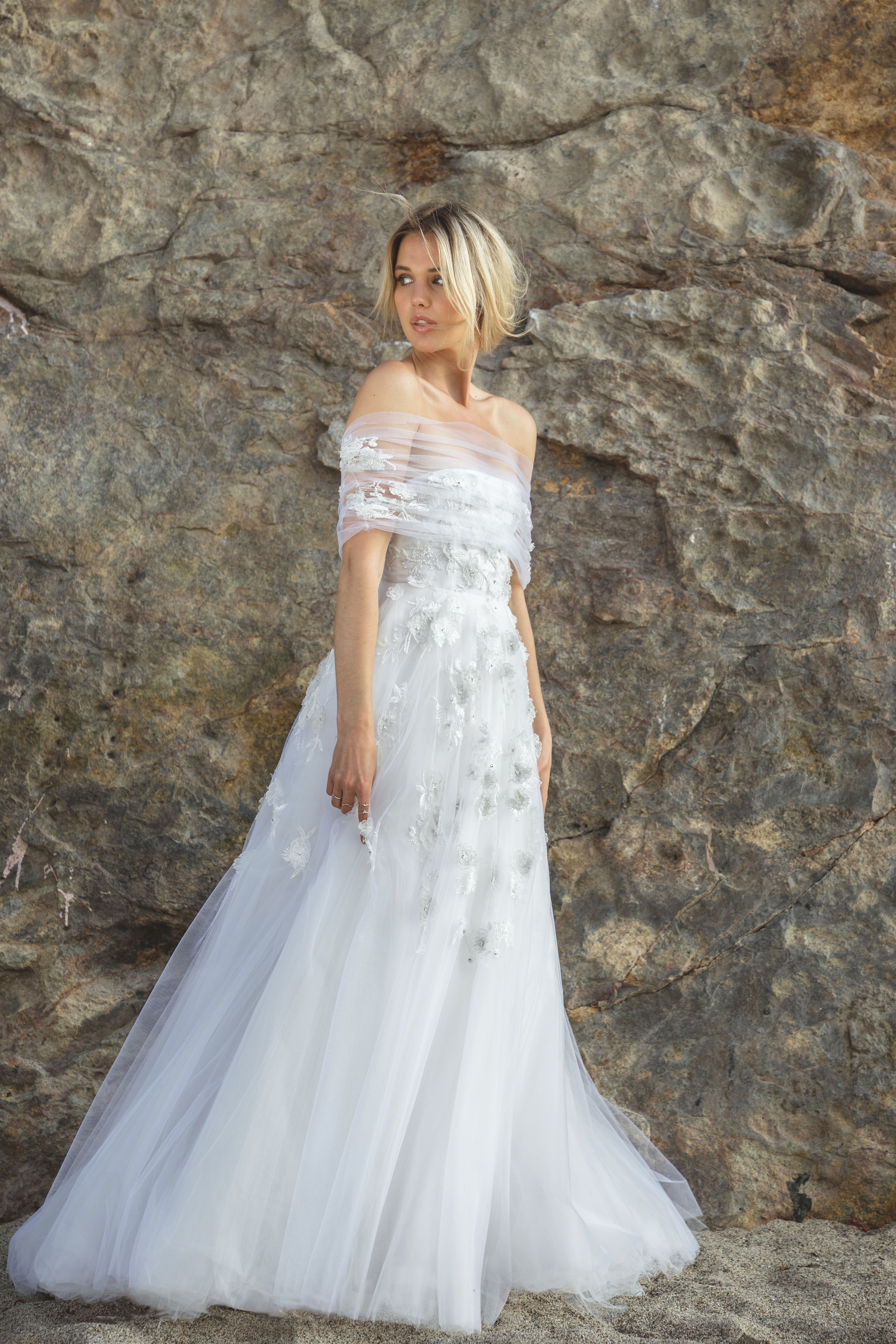 sabrina dahan embellished off the shoulder tulle wedding dress spring 2018
