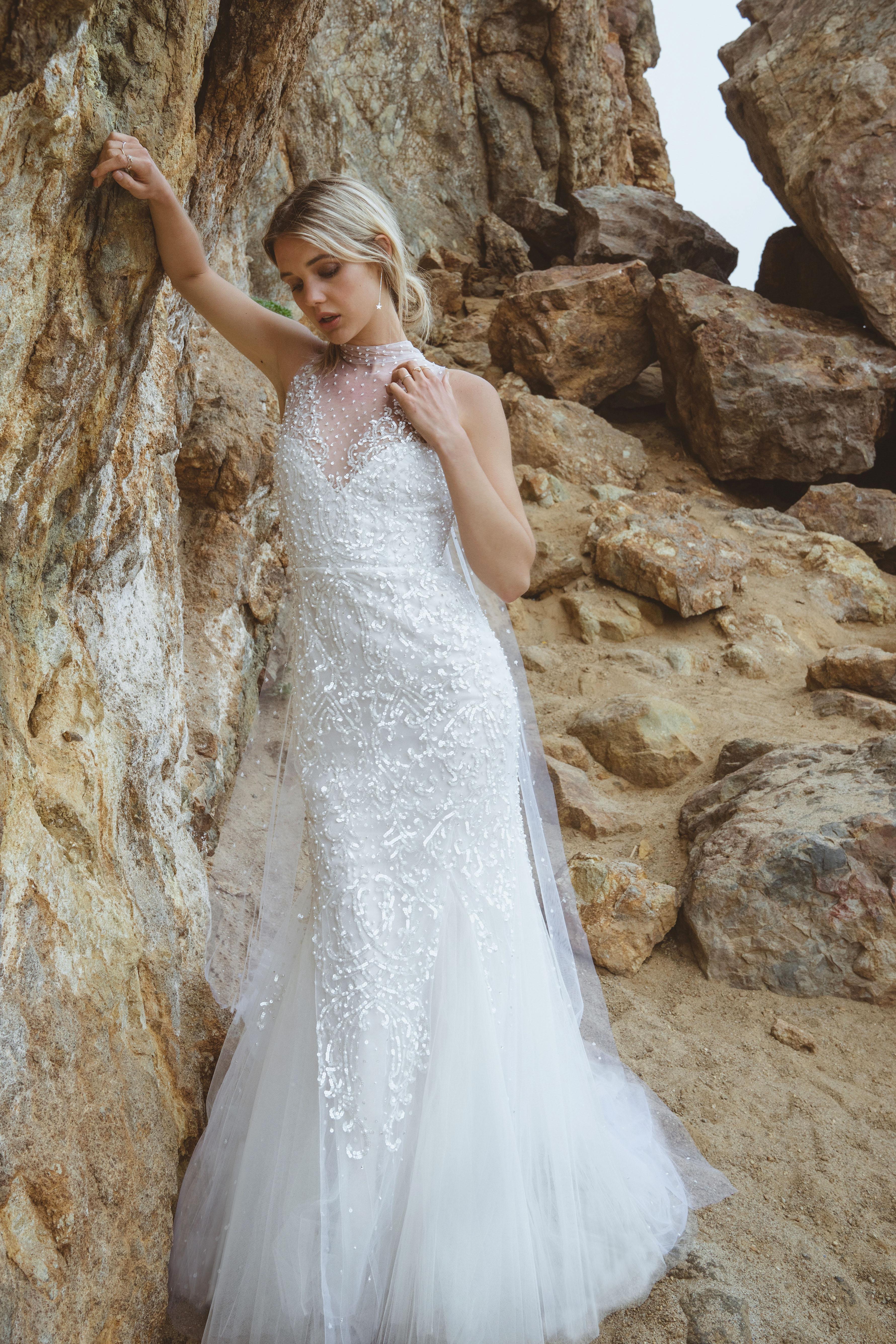 sabrina dahan embellished high neck tulle wedding dress spring 2018