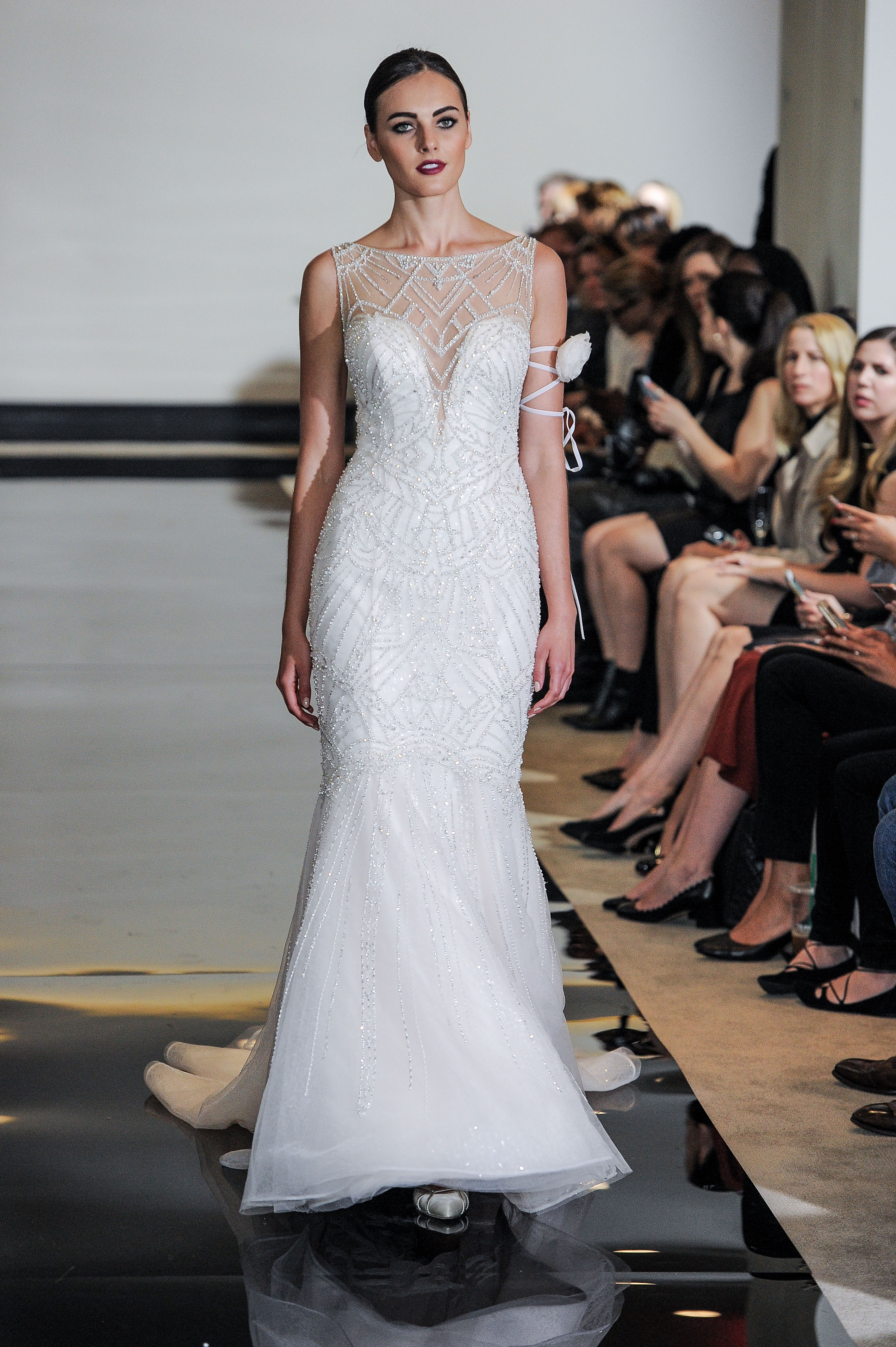 Justin Alexander Mermaid Wedding Dress with Illusion Neckline Spring 2018