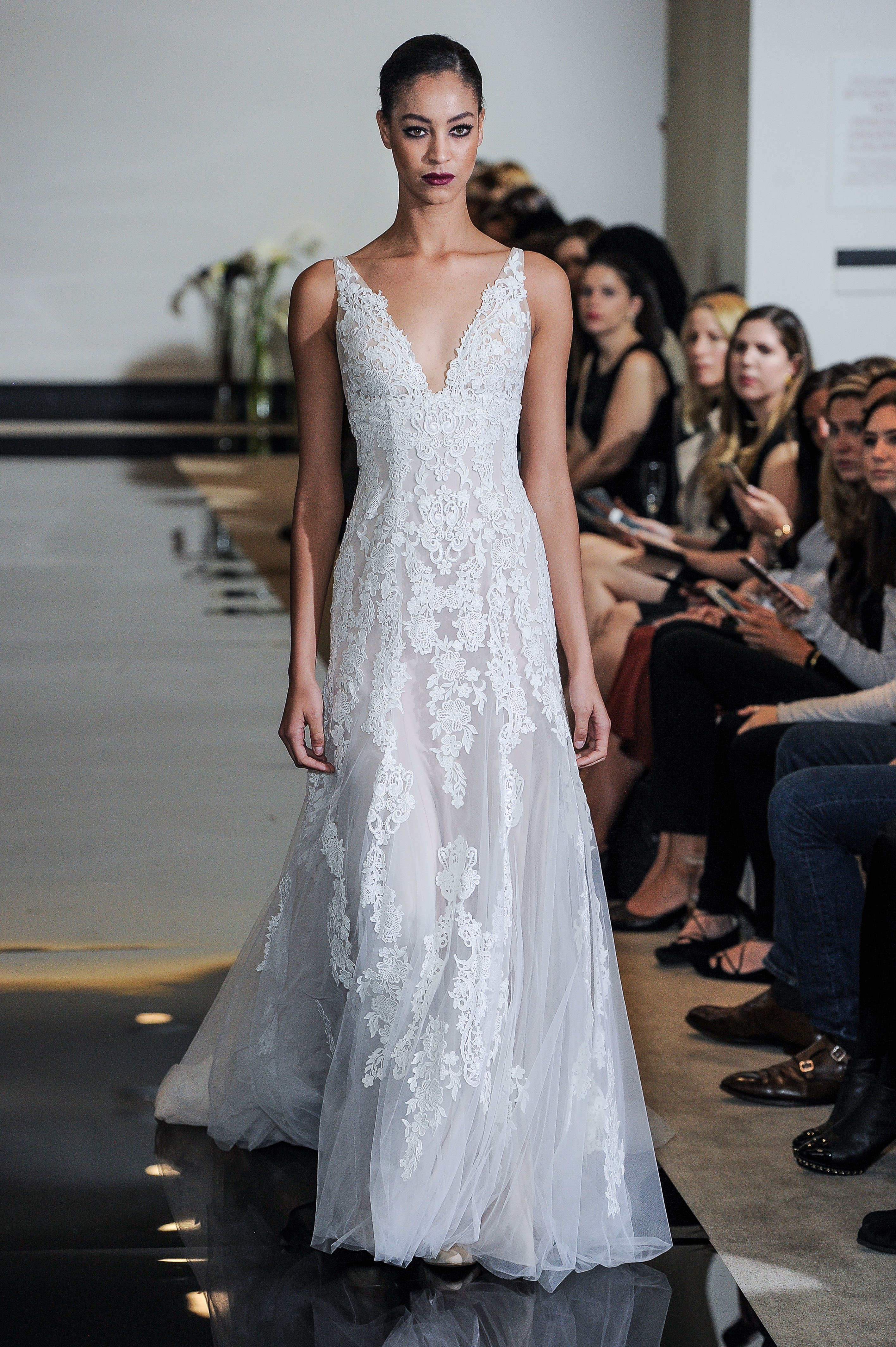 Justin Alexander Sheath Wedding Dress with Lace Spring 2018