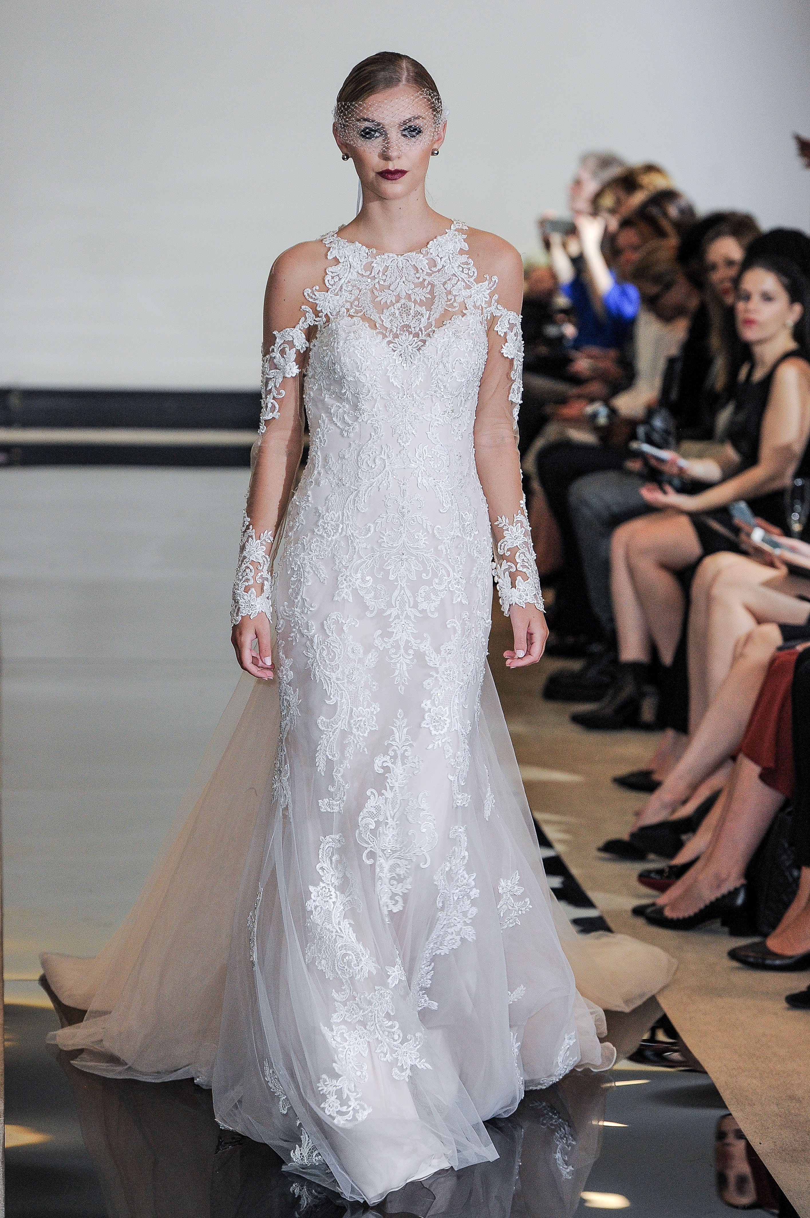 Justin Alexander Wedding Dress with Three-quarter length sleeves Spring 2018