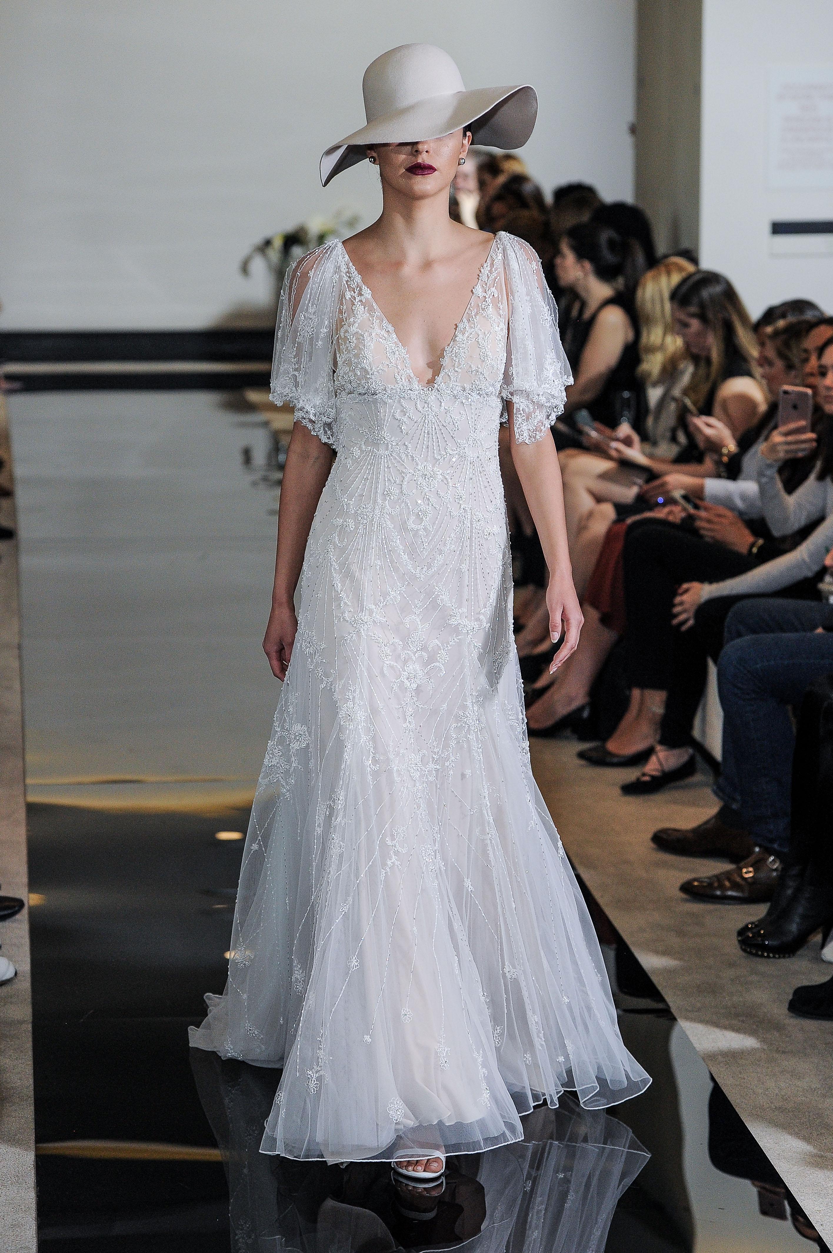Justin Alexander Short-Sleeve Wedding Dress Spring 2018