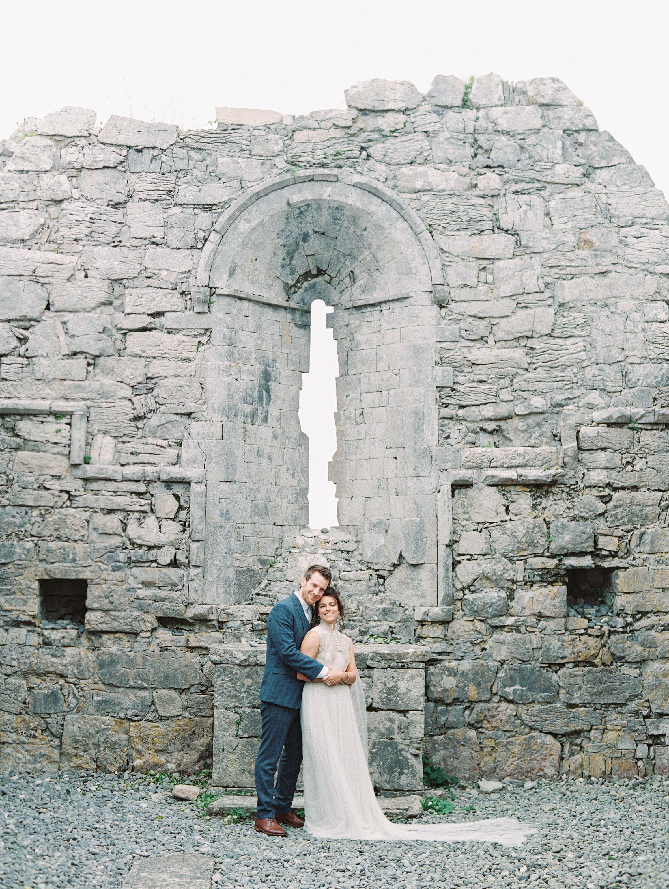 couple historic chapel wall portrait
