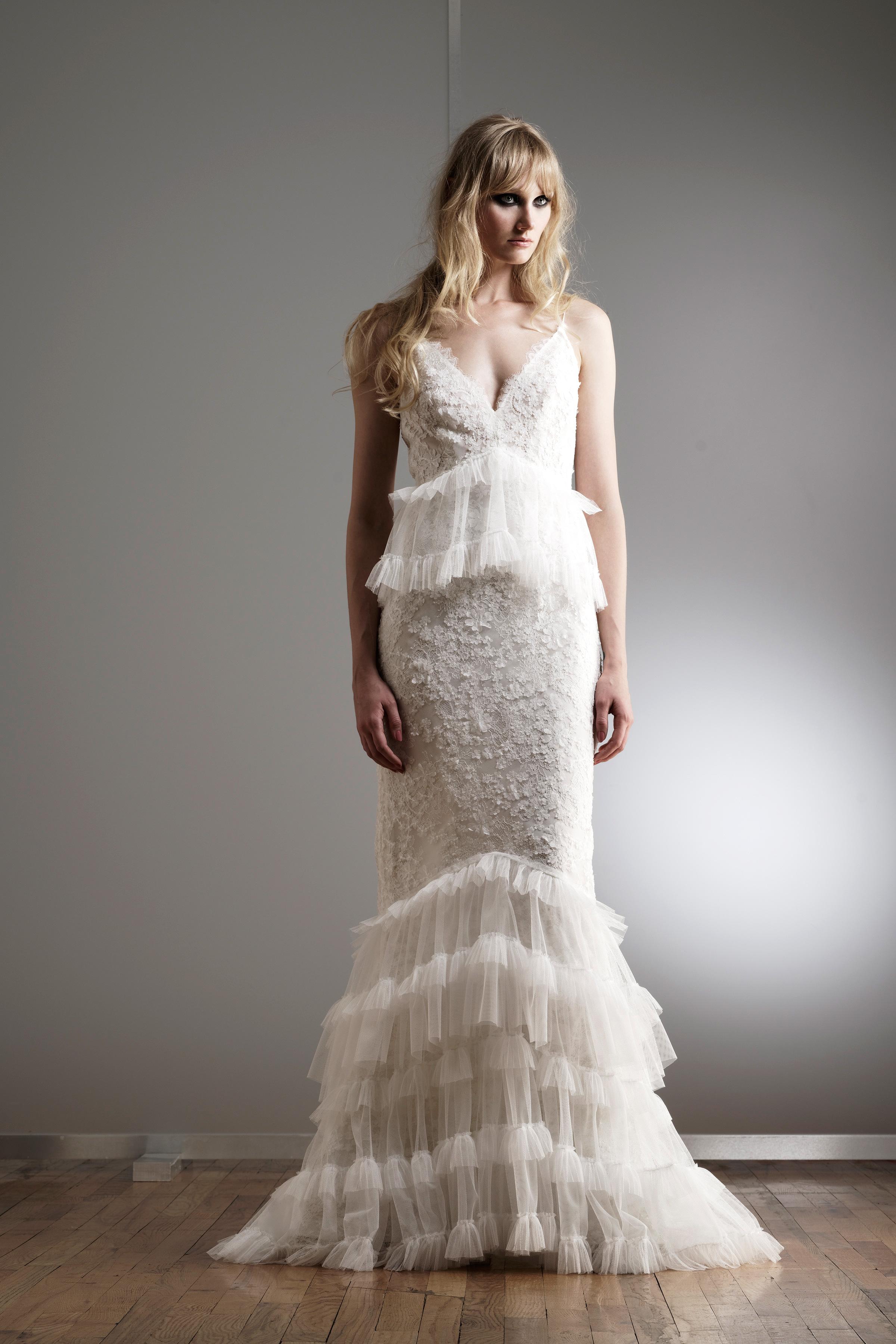 elizabeth fillmore v-neck feathered wedding dress spring 2018