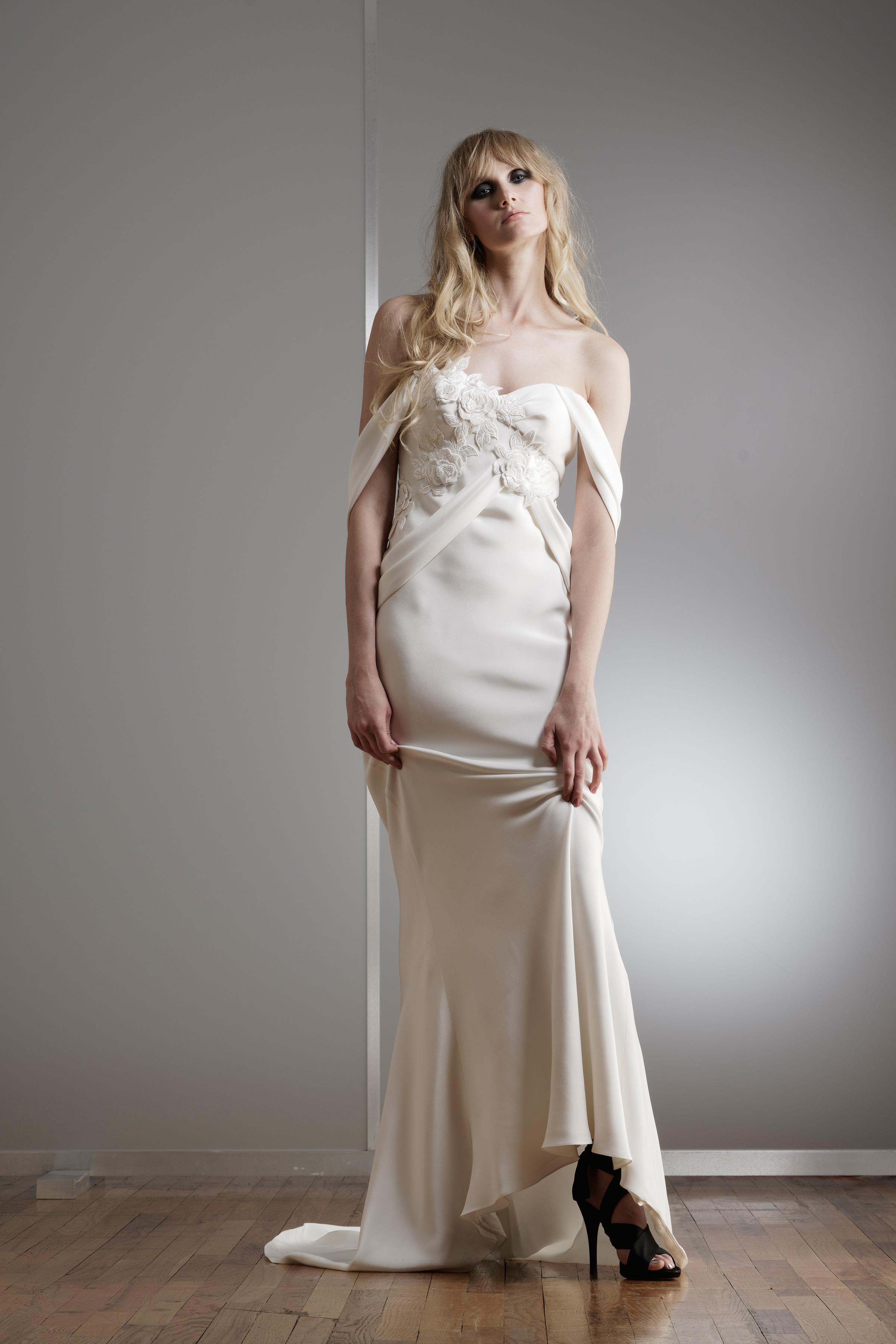 elizabeth fillmore off-the-shoulder wedding dress spring 2018