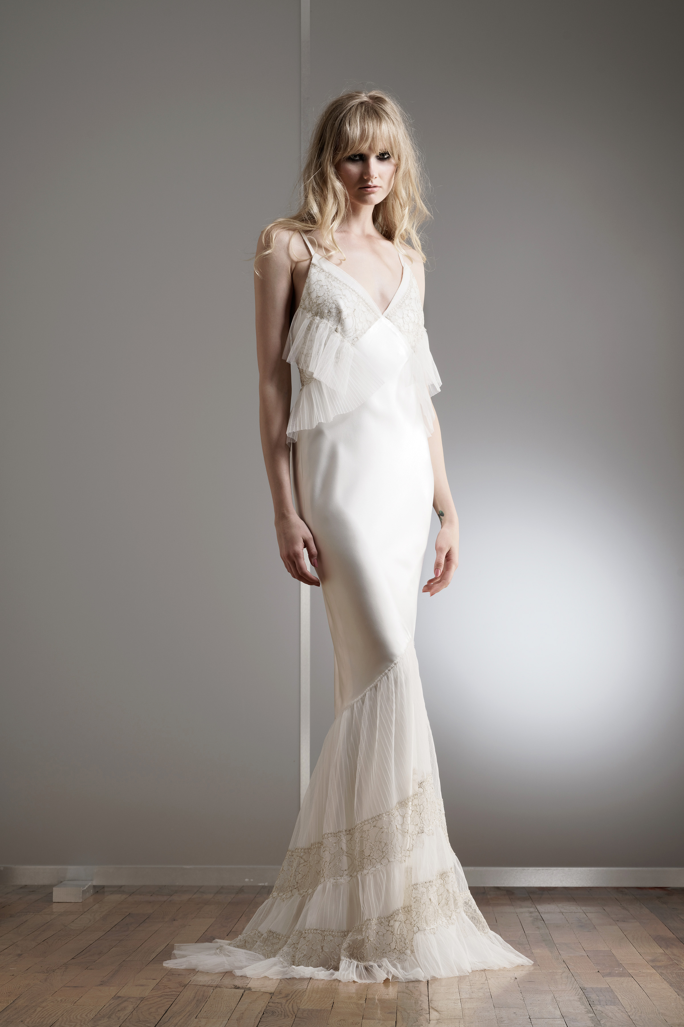 elizabeth fillmore lace spaghetti wedding dress spring 2018