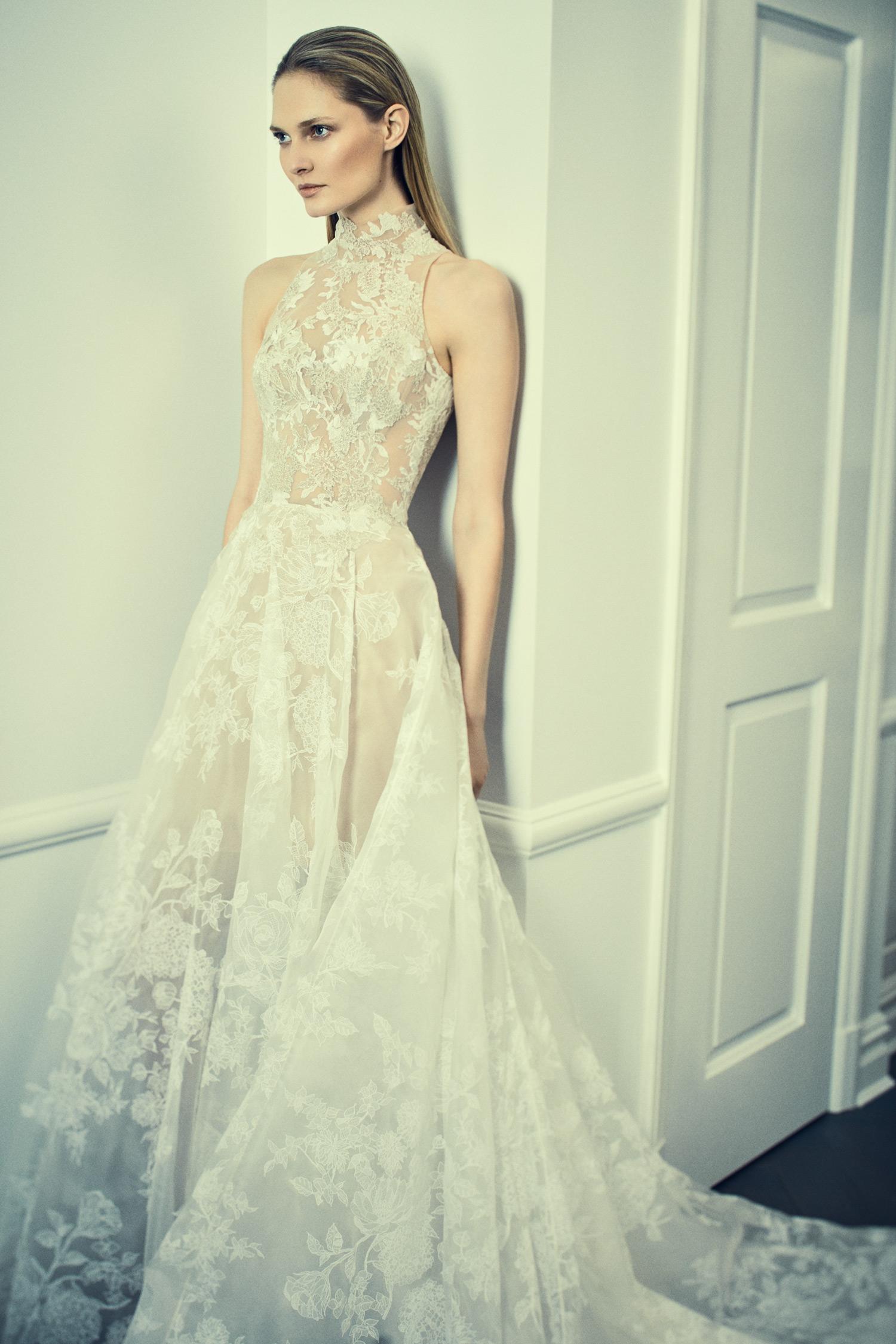 romona keveza collection wedding dress spring 2018 halter lace