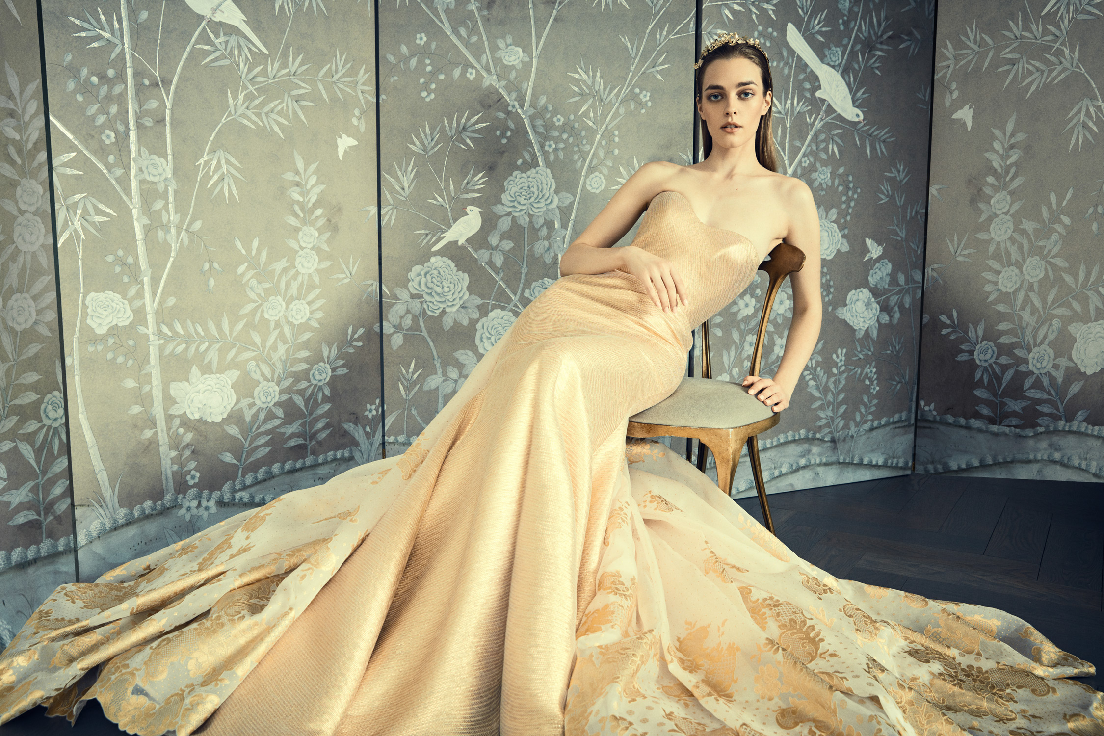 romona keveza collection wedding dress spring 2018 strapless gold details