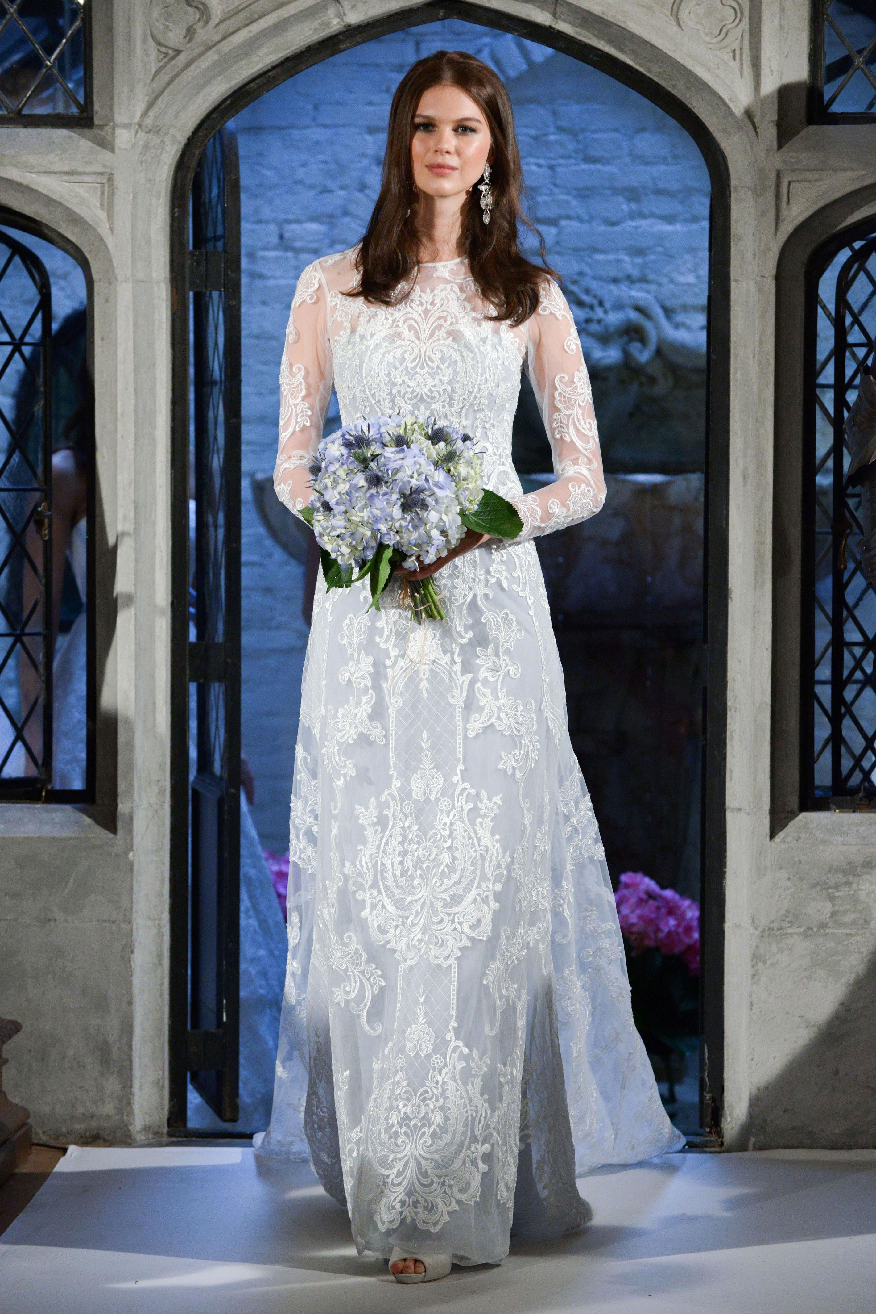 oleg cassini lace sleeve wedding dress spring 2018