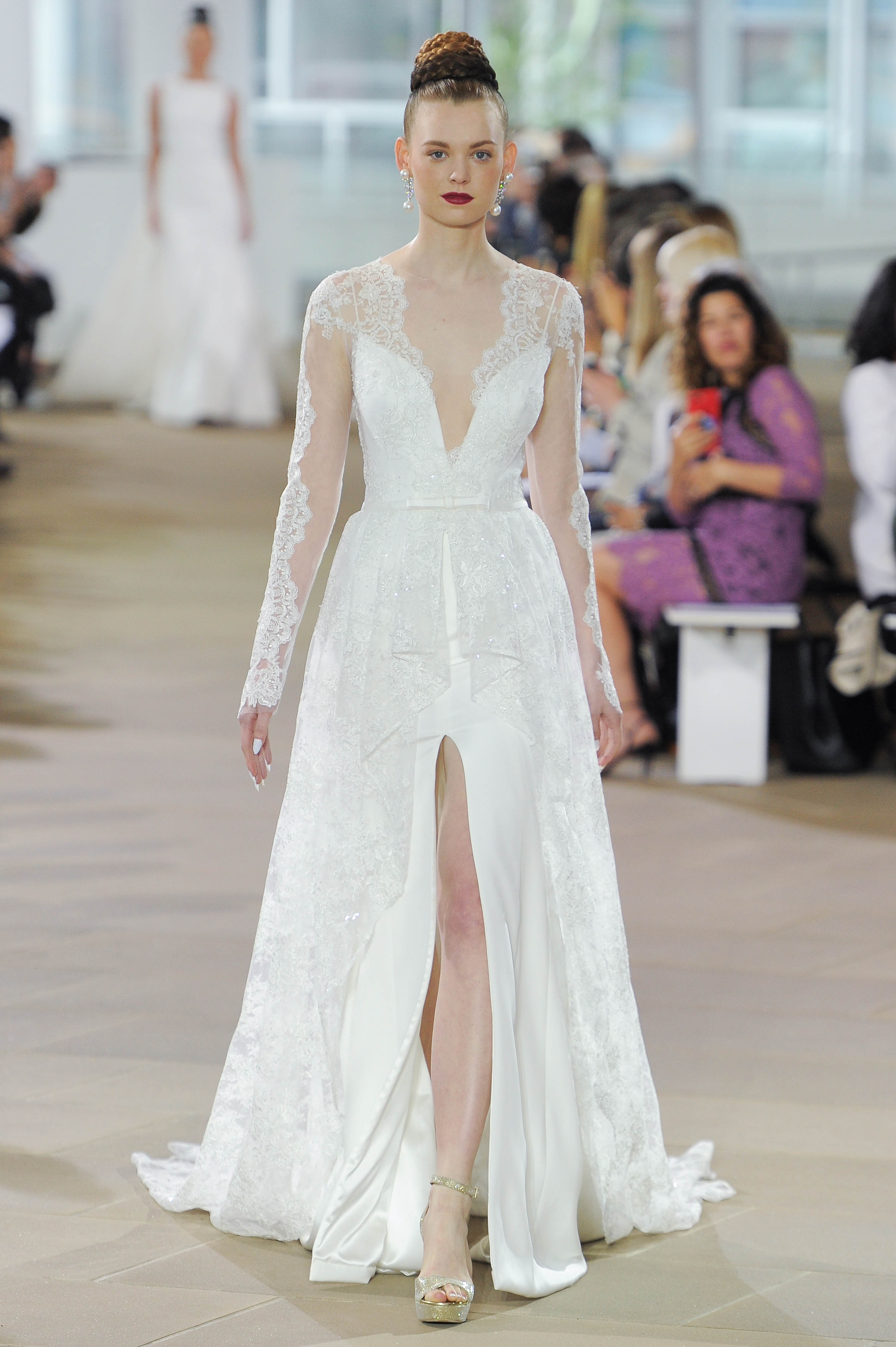 Ines Di Santo Long Sleeve Wedding Dress with V-Neck Spring 2018