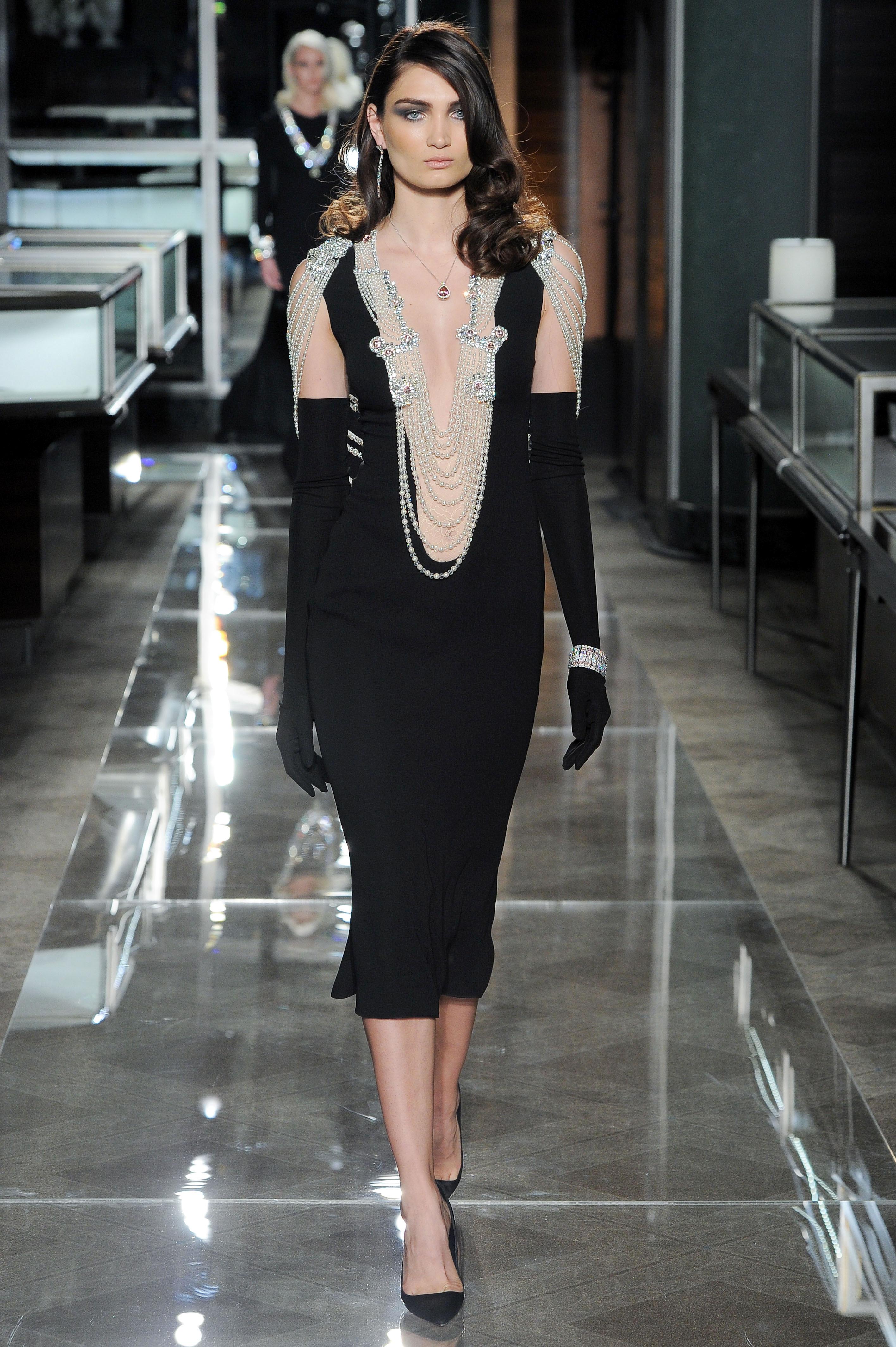 reem acra spring 2018 black wedding dress with knee-length hem and beading