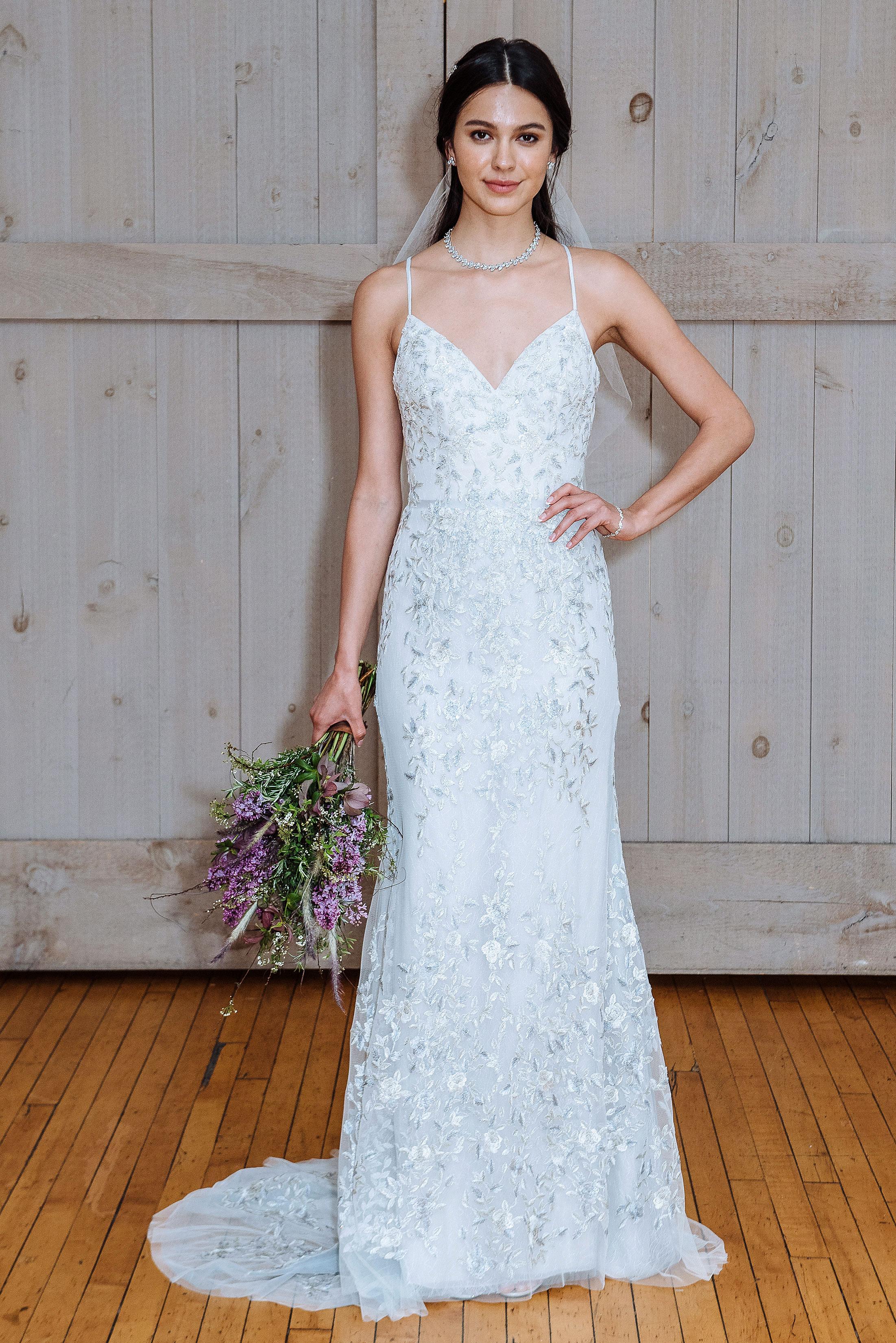 david's bridal spaghetti strap wedding dress spring 2018