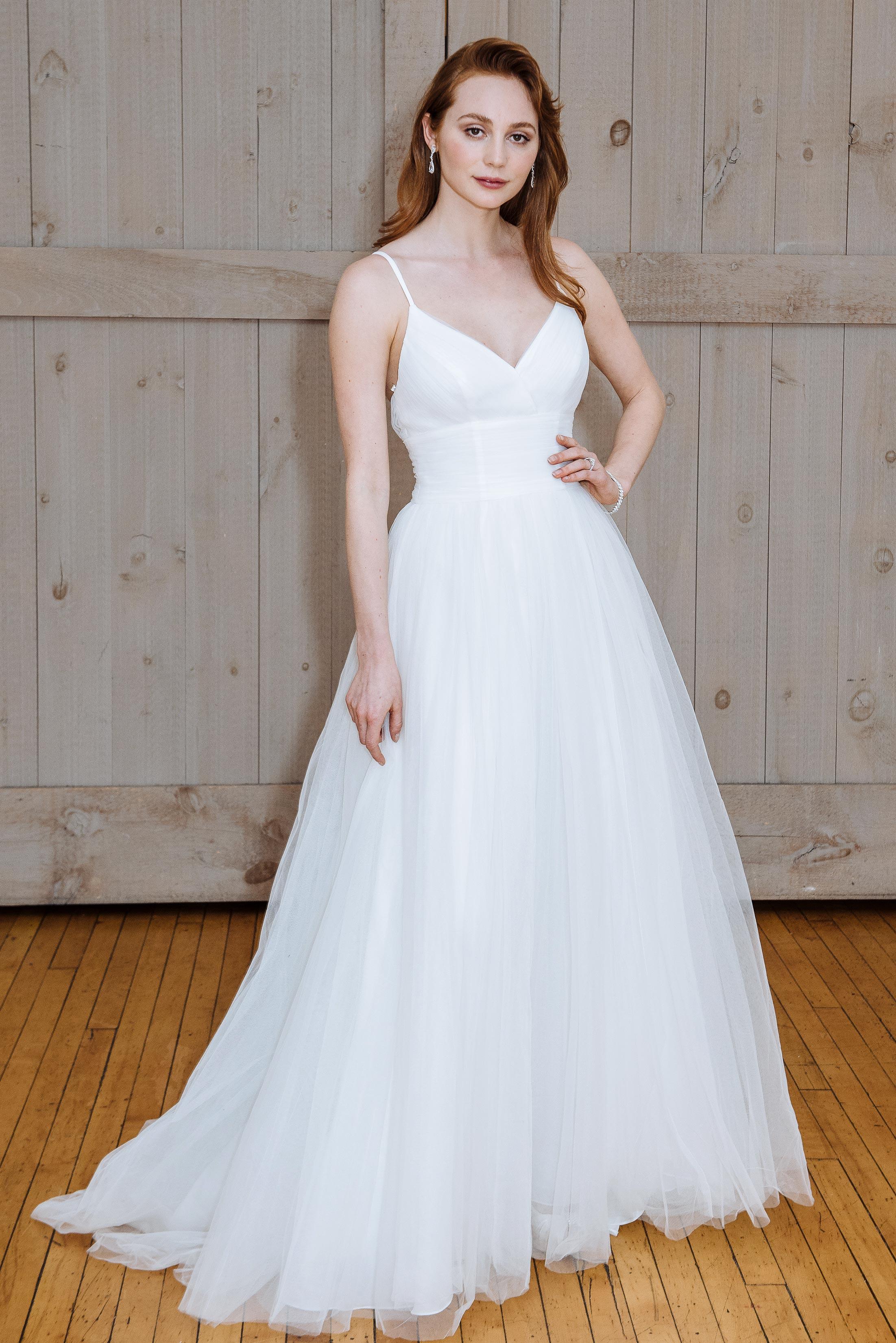 david's bridal v-neck tight waist wedding dress spring 2018