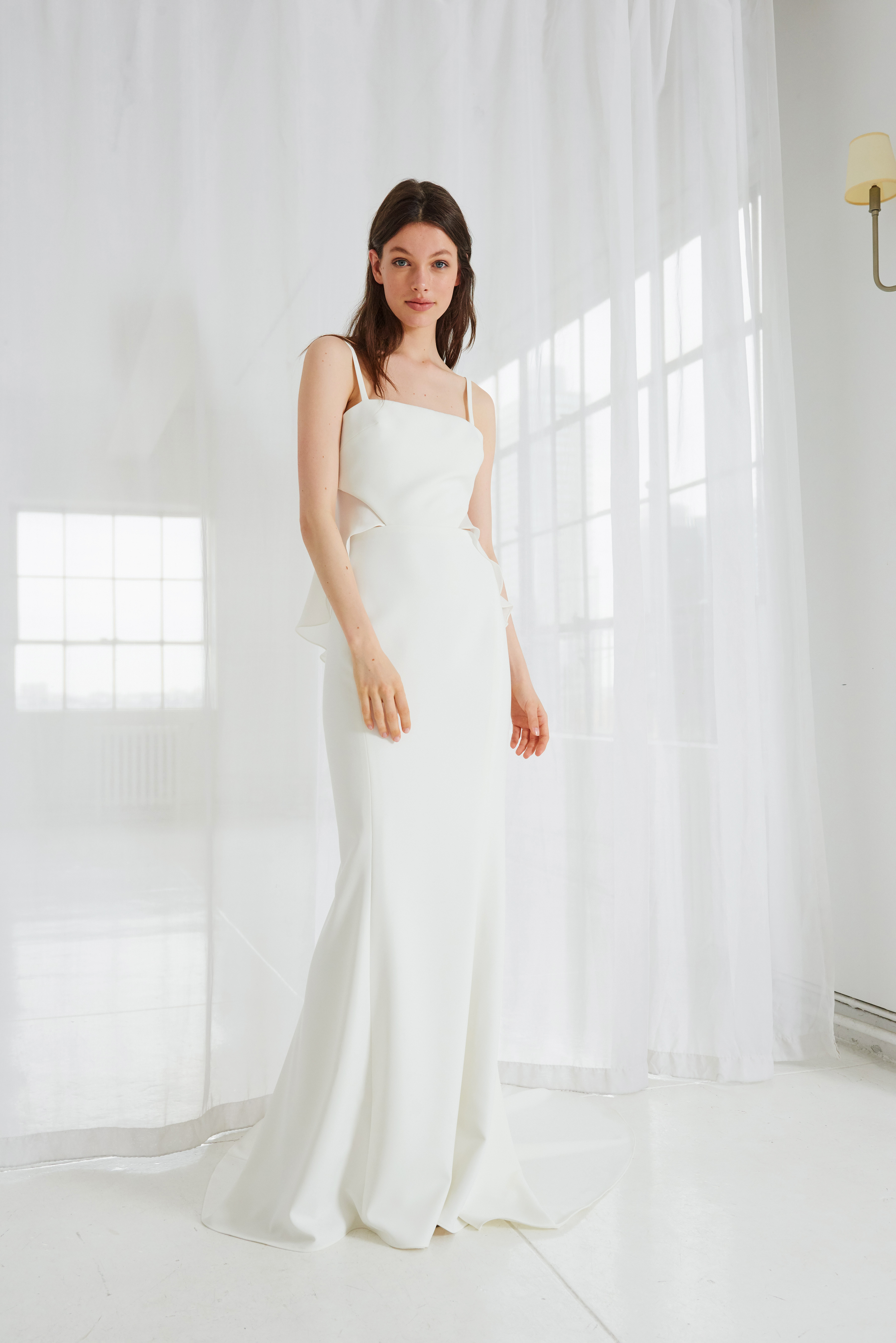 amsale spaghetti strap trumpet wedding dress spring 2018
