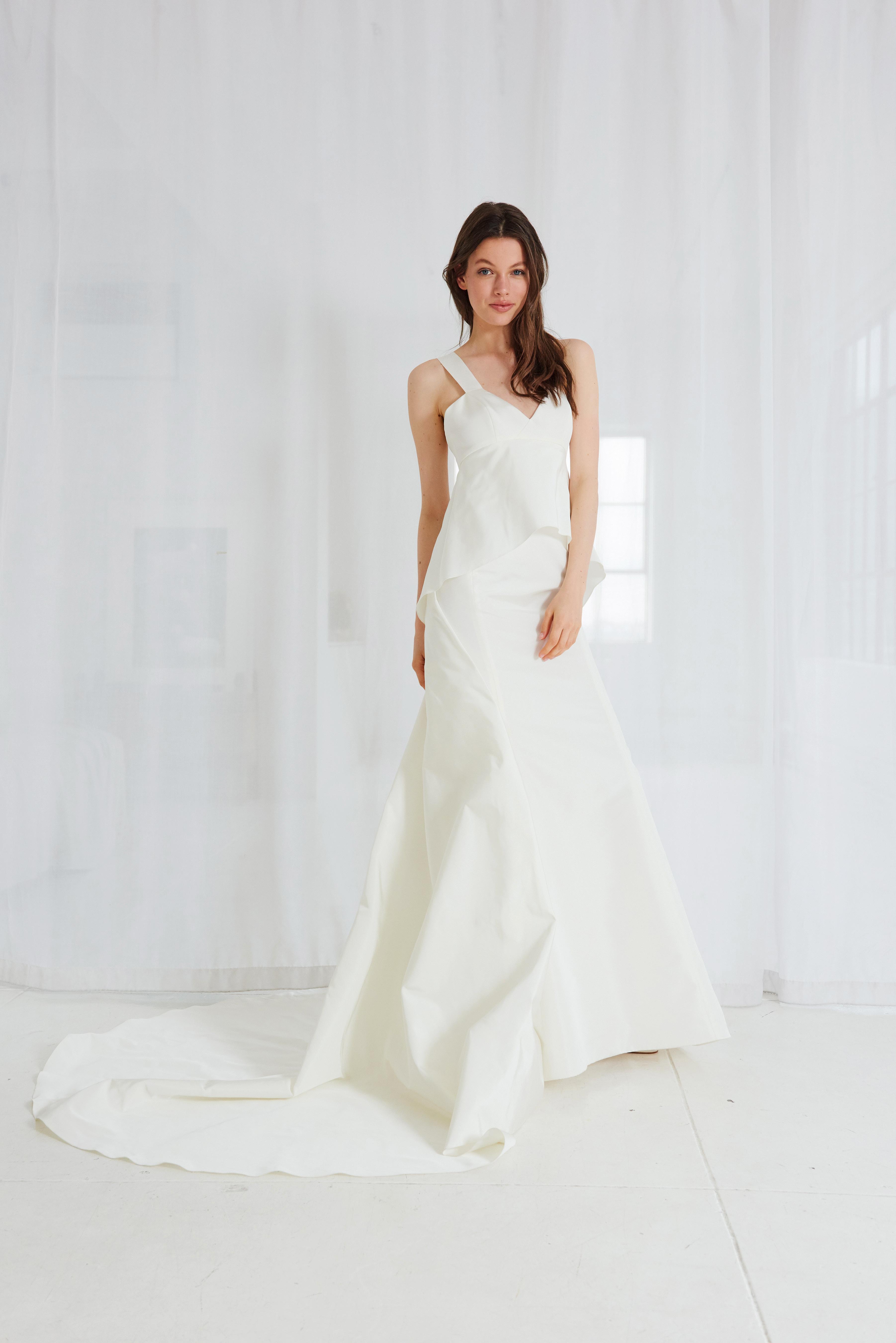 amsale v-neck trumpet wedding dress spring 2018