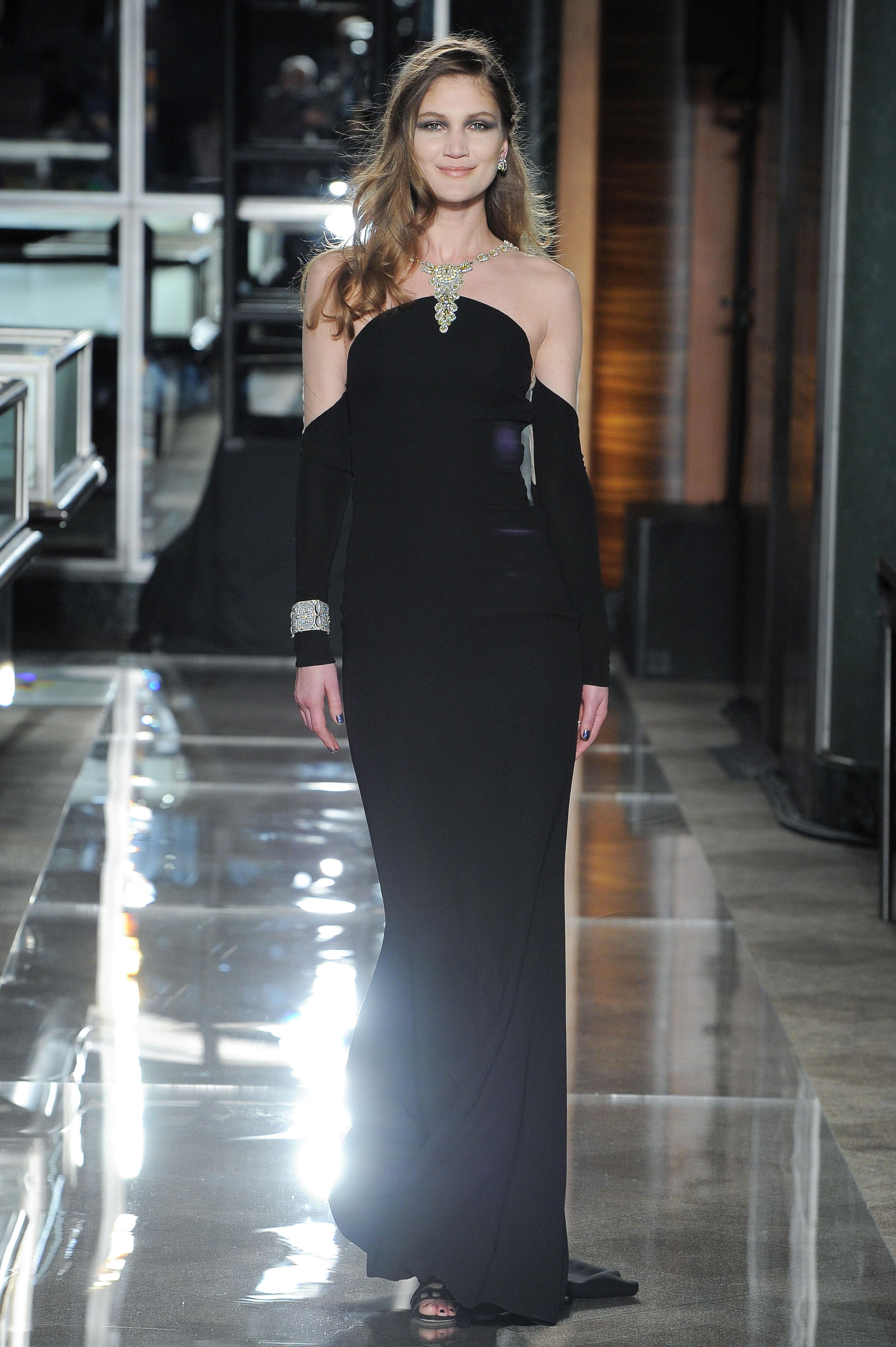reem acra spring 2018 black off-the-shoulder wedding dress