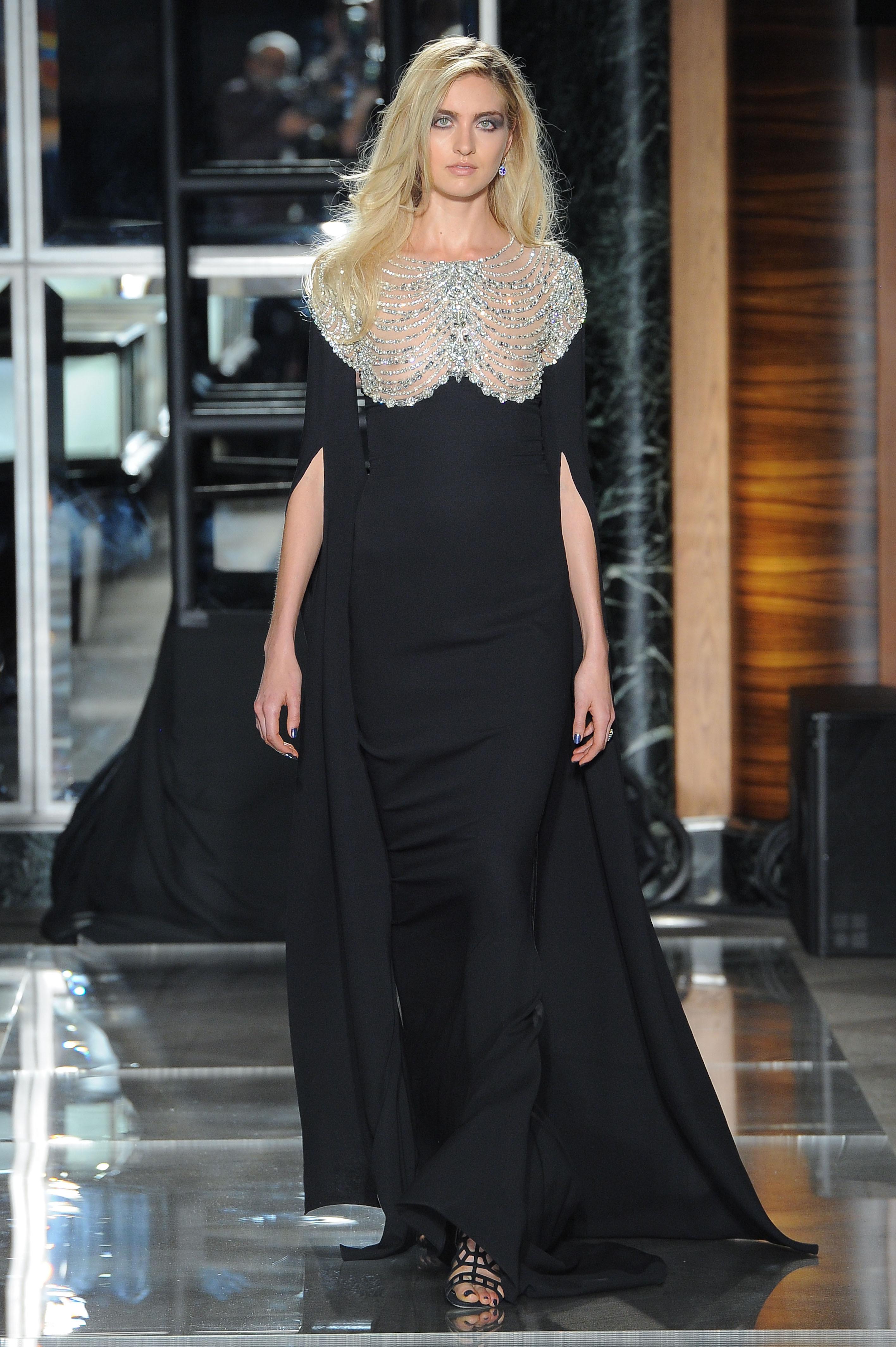 reem acra spring 2018 black wedding dress with embellishment and cape