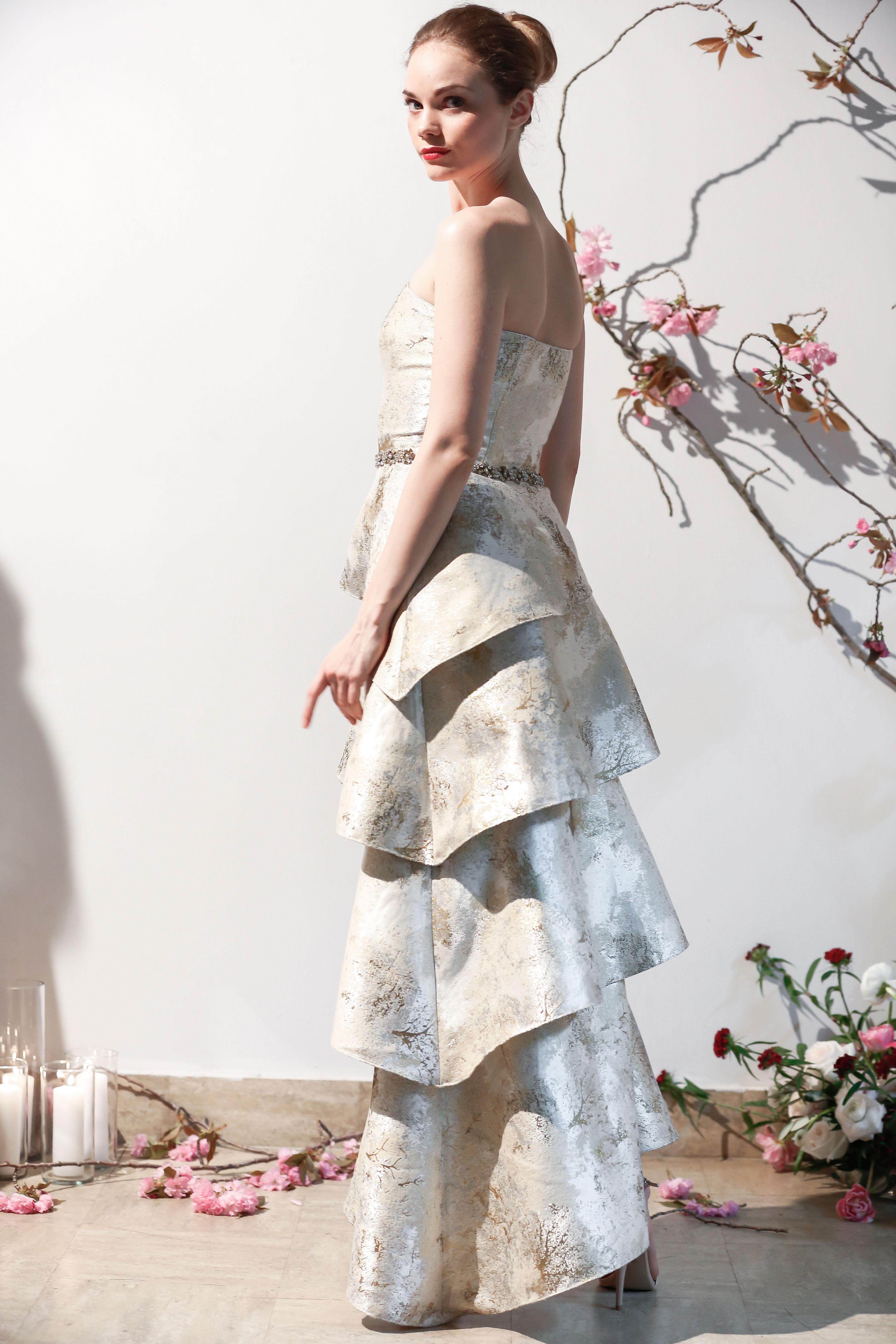 Mason Hosker layered metallic wedding dress spring 2018