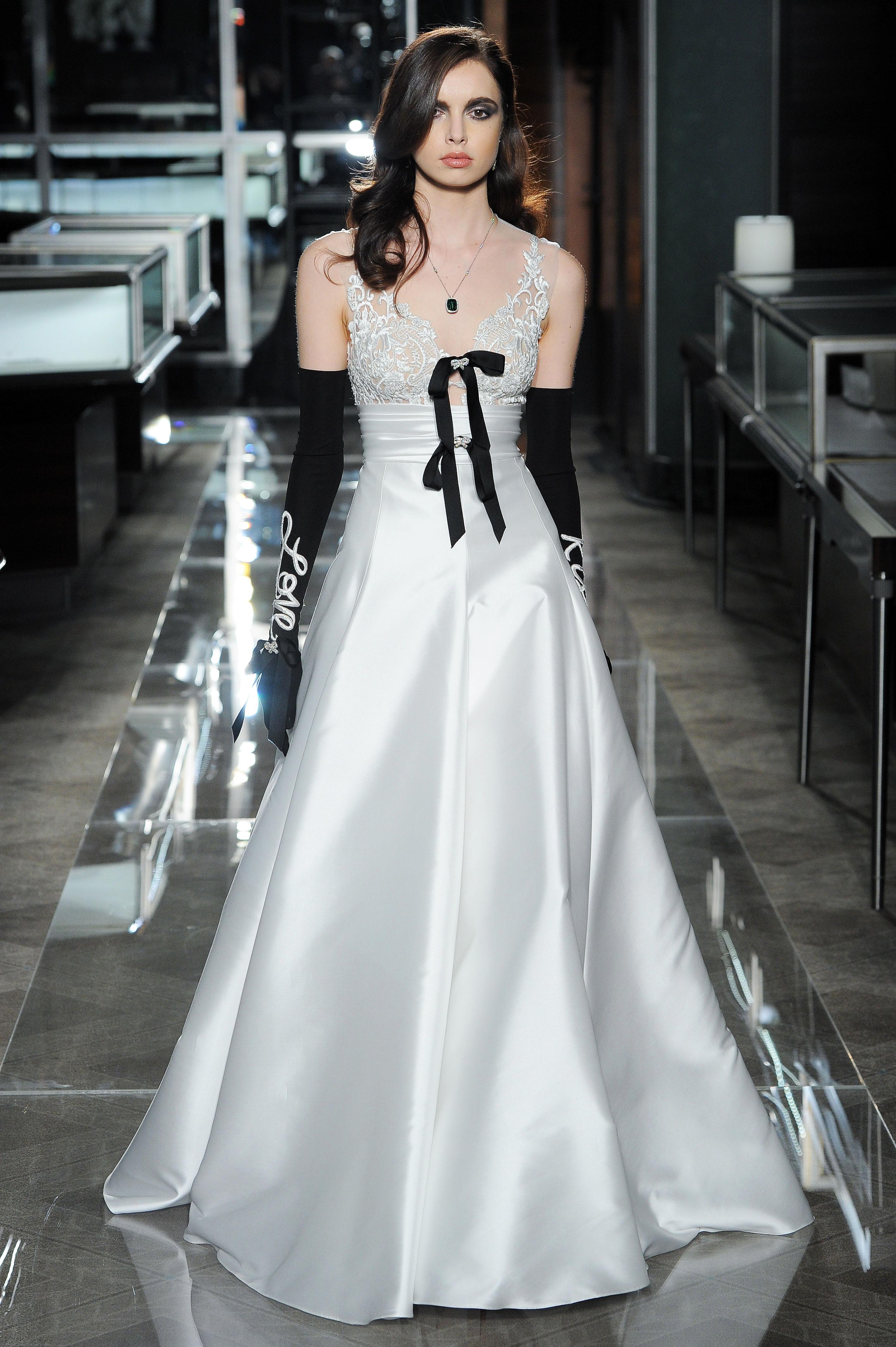 reem acra spring 2018 a-line wedding dress with black gloves