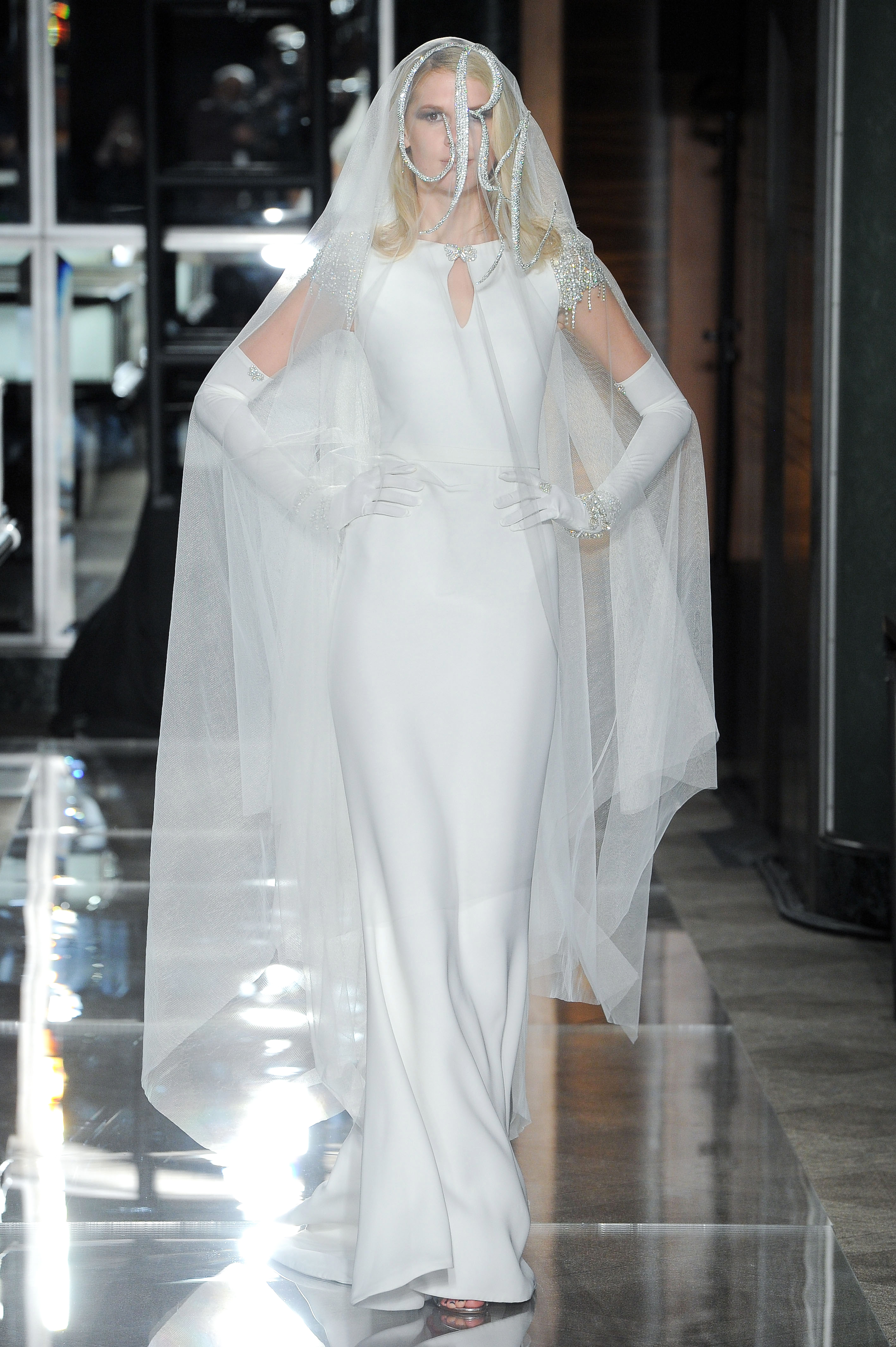 reem acra spring 2018 silk wedding dress with veil