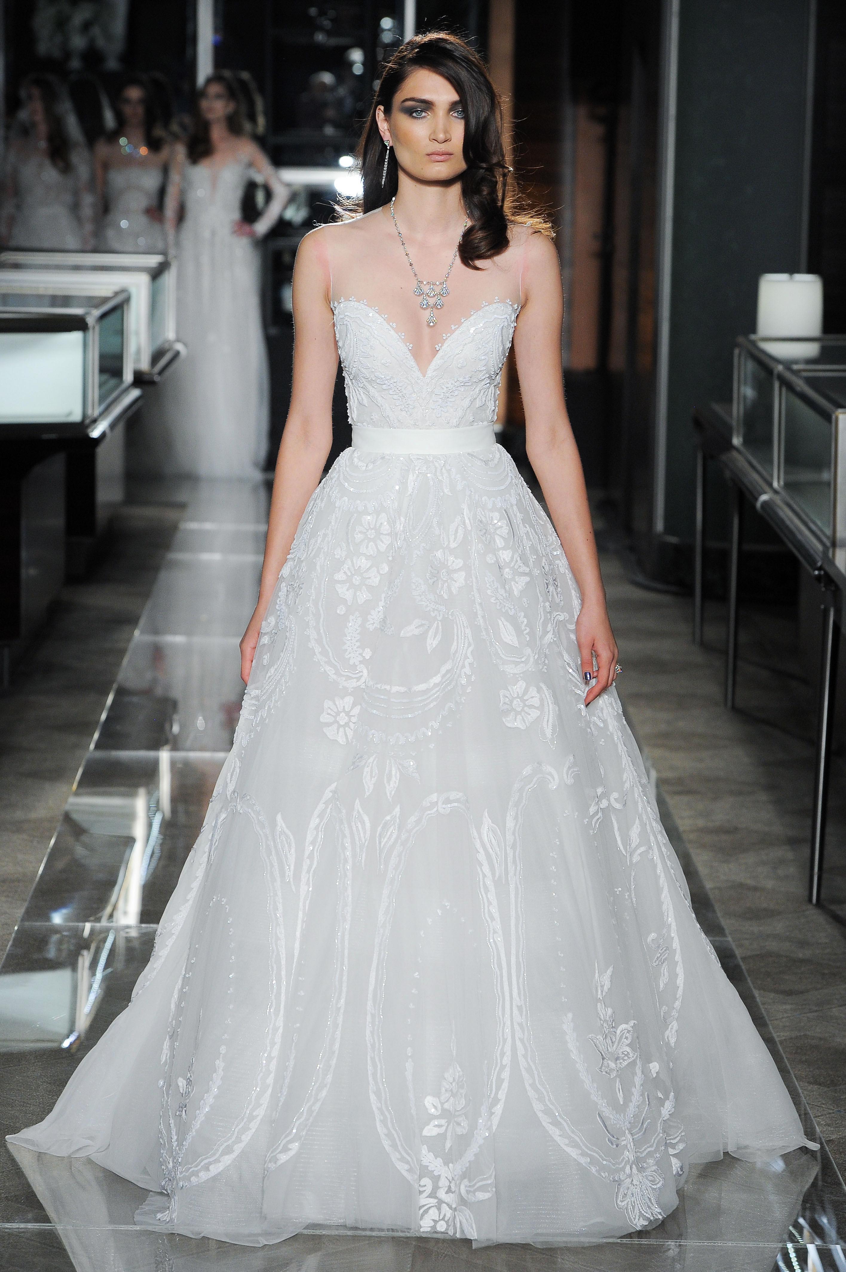 reem acra spring 2018 wedding dress collection v-neck a line