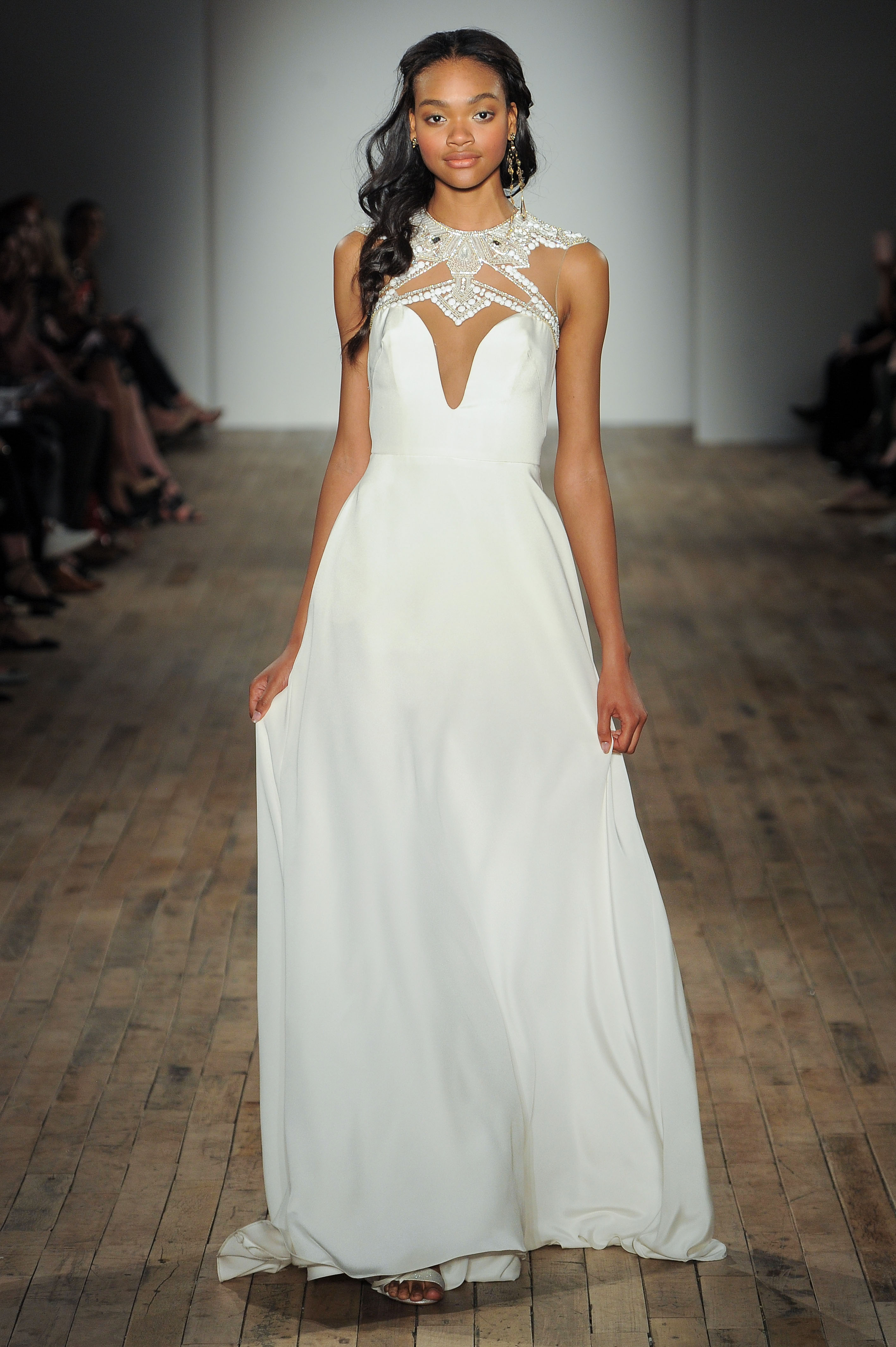 high neck a-line Hayley Paige Spring 2018 Wedding Dress Collection