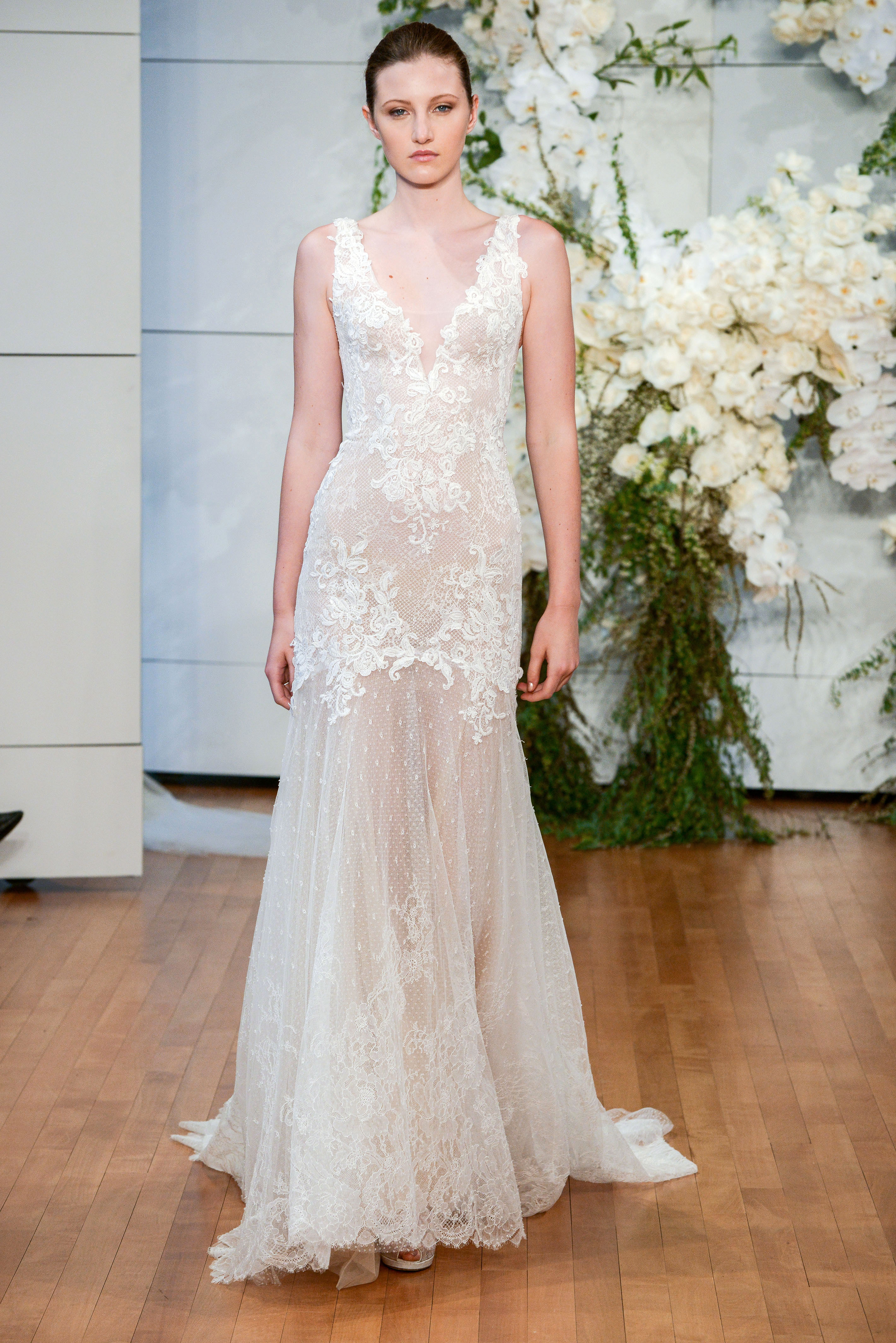 monique lhuillier sheer lace trumpet wedding dress spring 2018