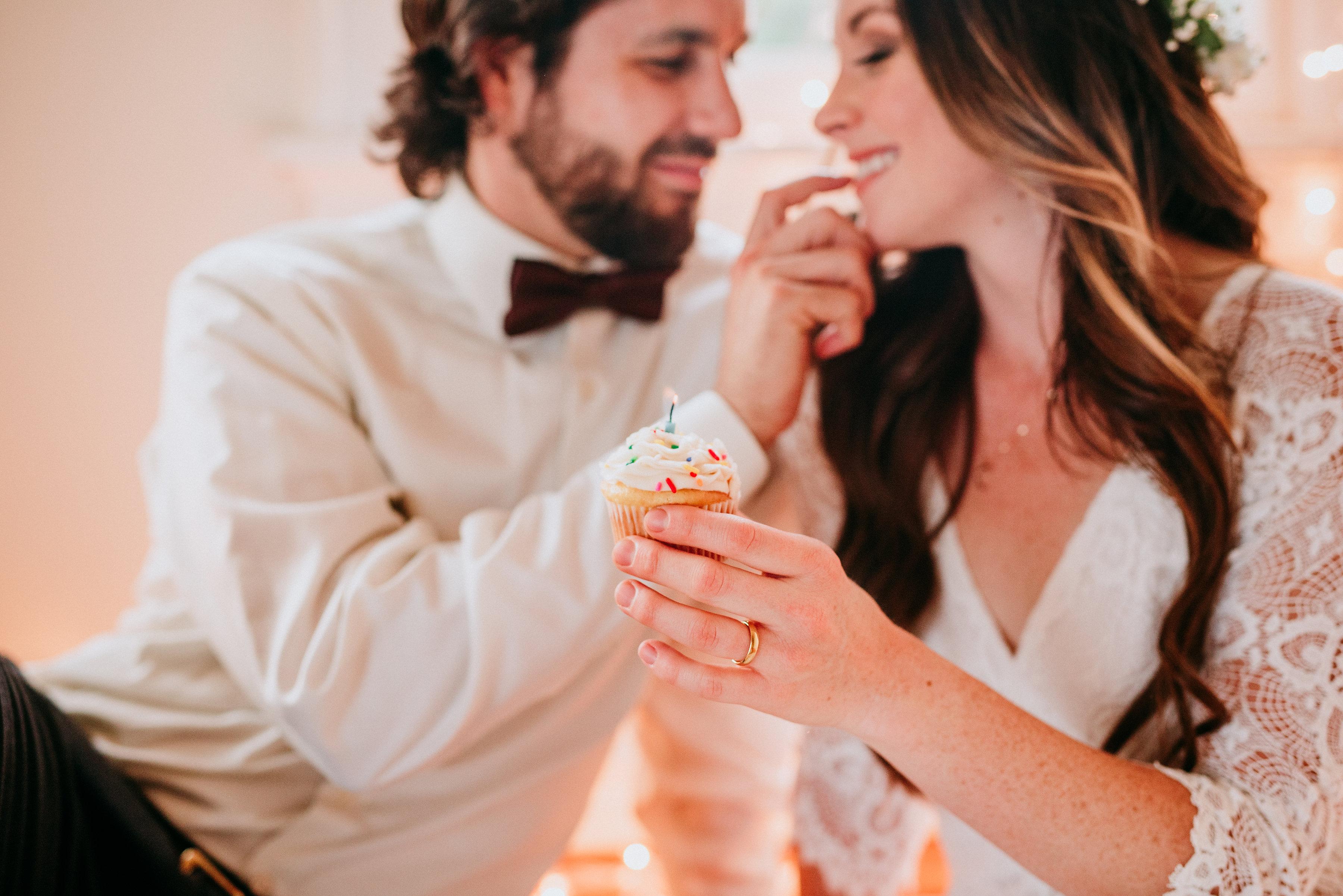 """Models Sharing Cupcake at """"This Is Us"""" Wedding Inspiration Shoot"""