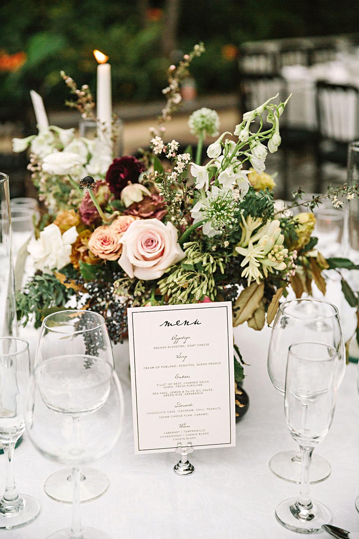 regina chris wedding menu